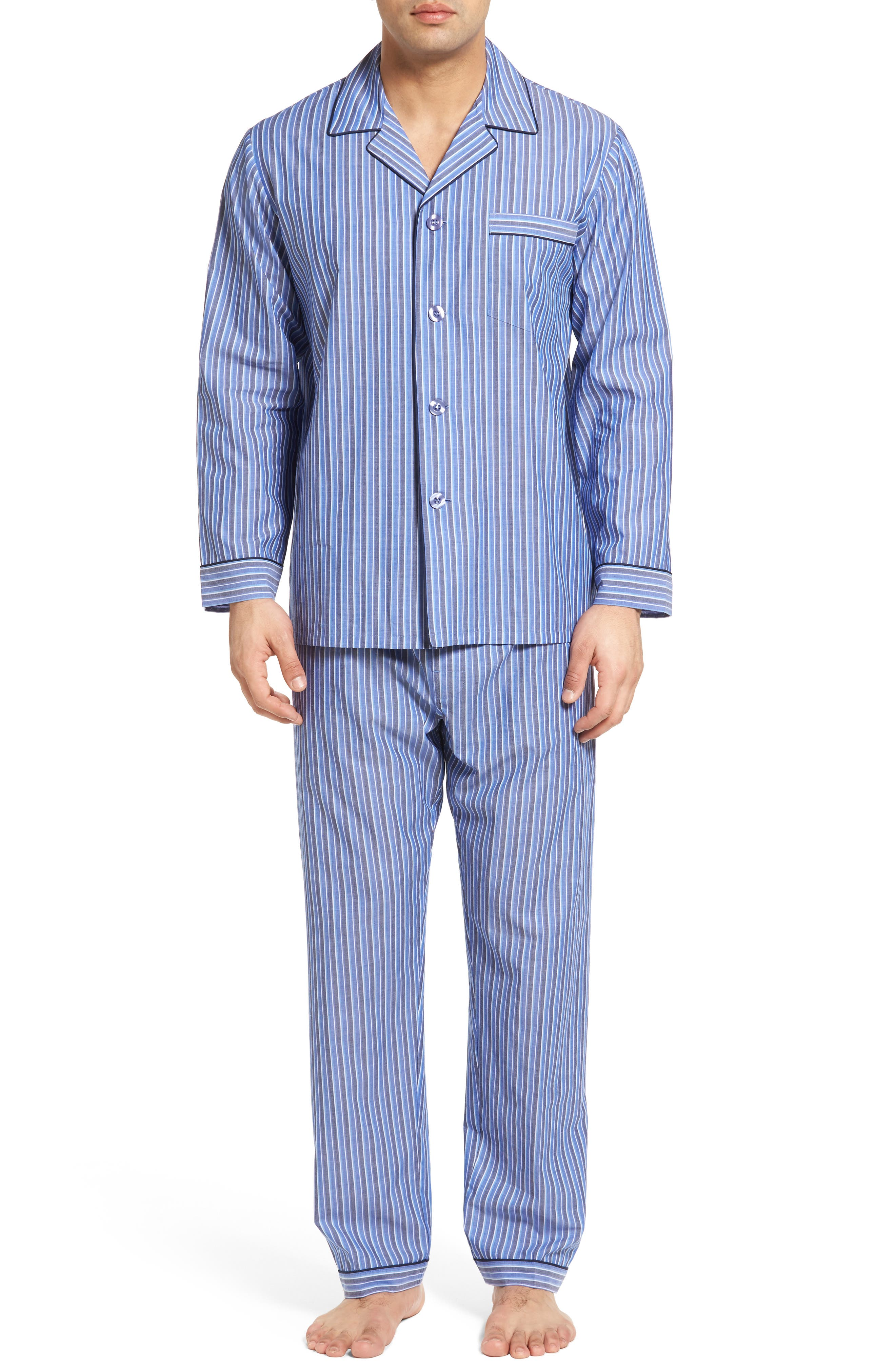 Cole Cotton Blend Pajama Set,                             Main thumbnail 1, color,                             Royal Stripe