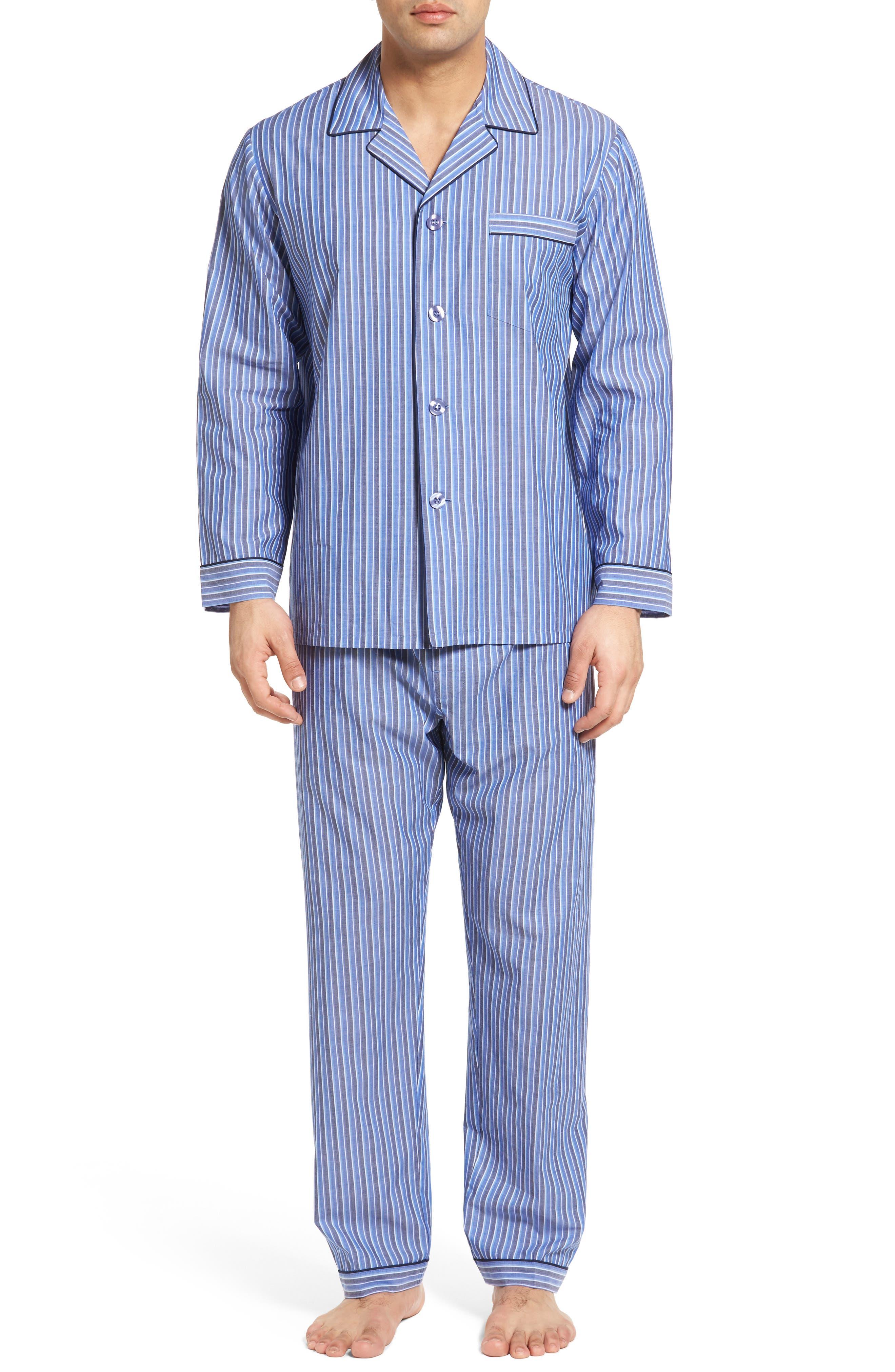 Cole Cotton Blend Pajama Set,                         Main,                         color, Royal Stripe