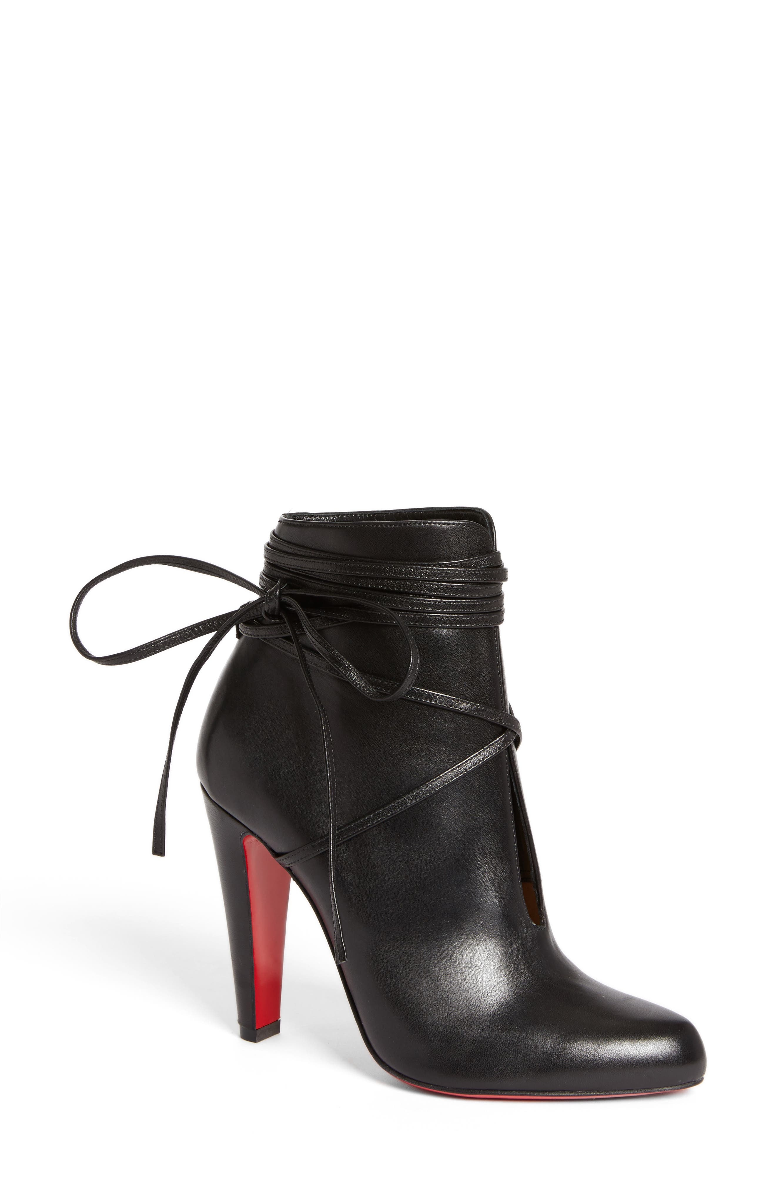 Ankle Tie Bootie,                         Main,                         color, Black Leather