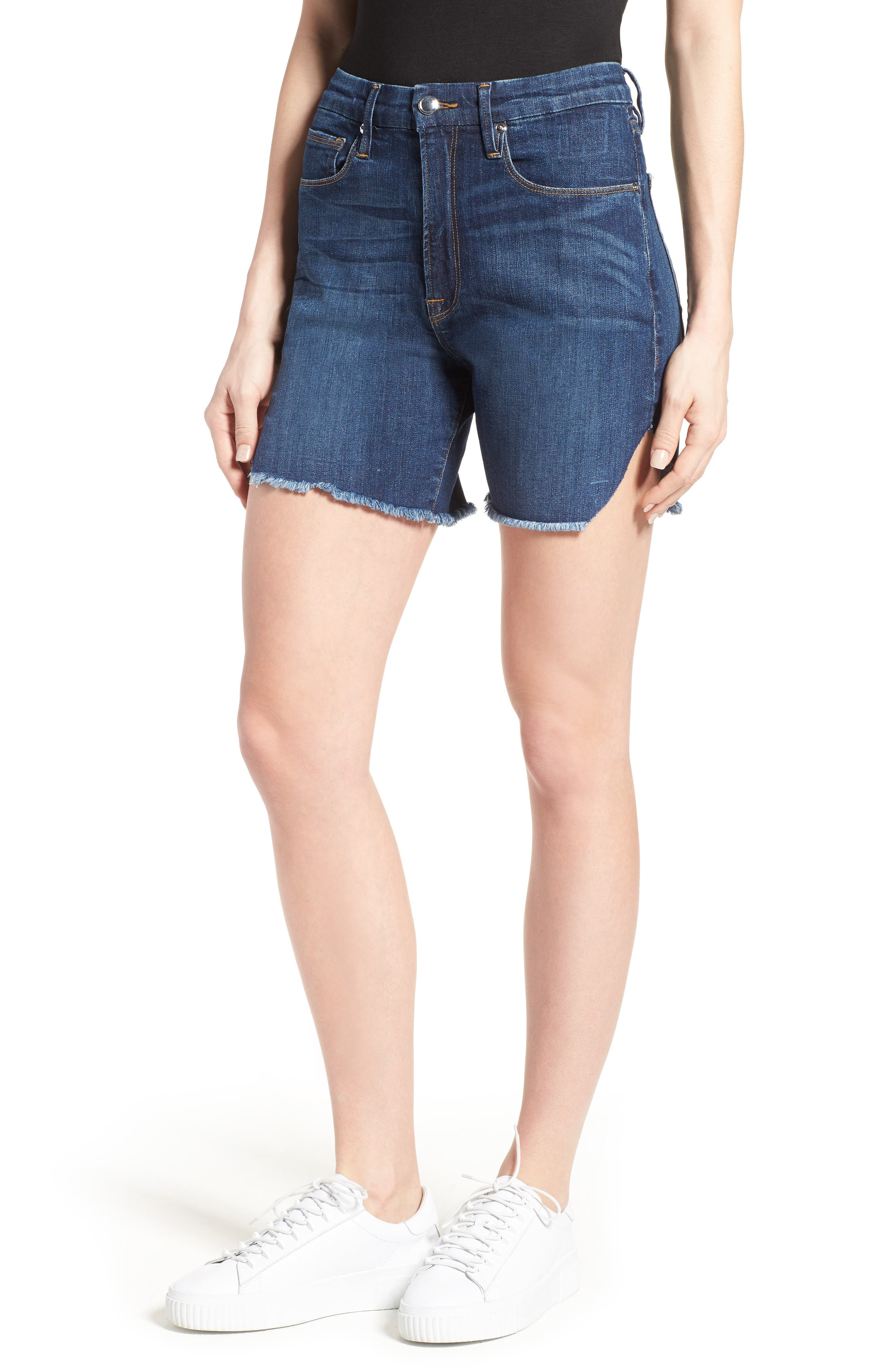Good American High Rise Cutoff Denim Shorts (Blue 037) (Extended Sizes)