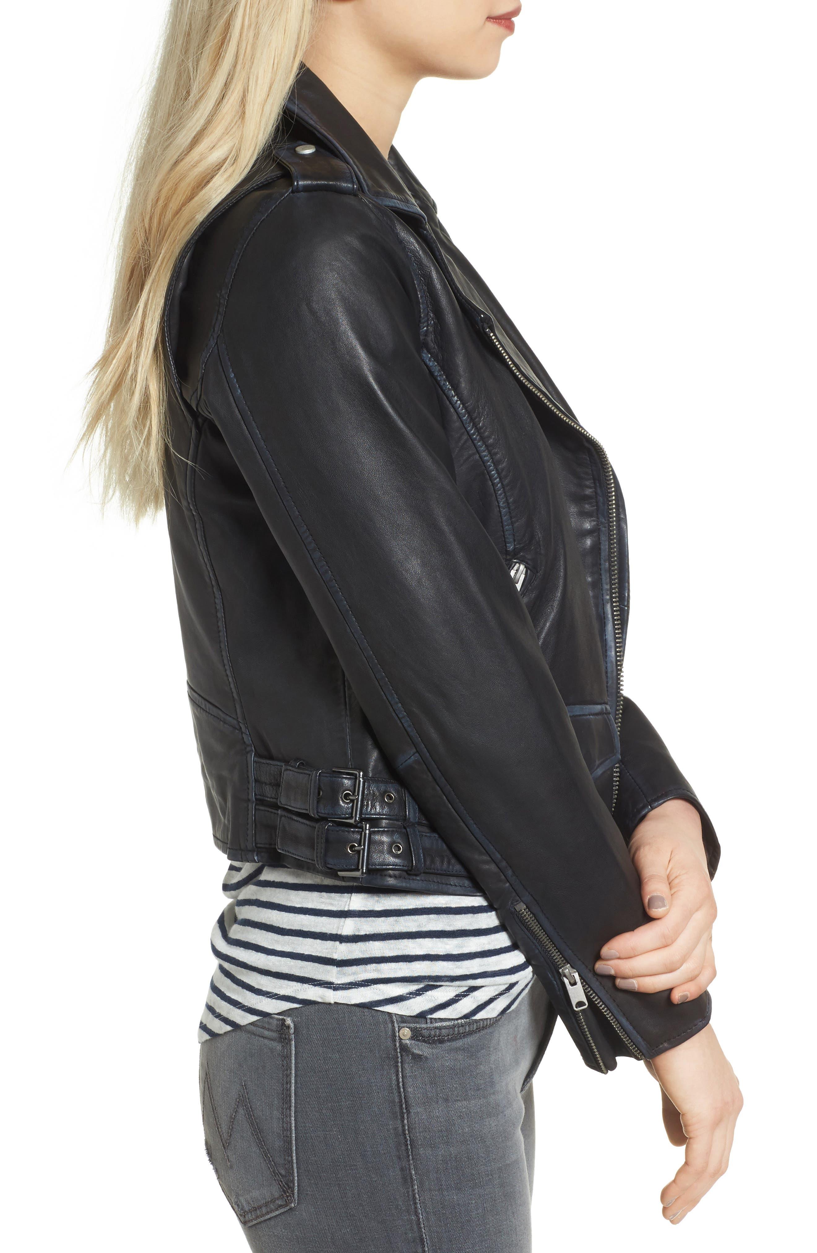 Whitney Washed Leather Crop Jacket,                             Alternate thumbnail 3, color,                             Black