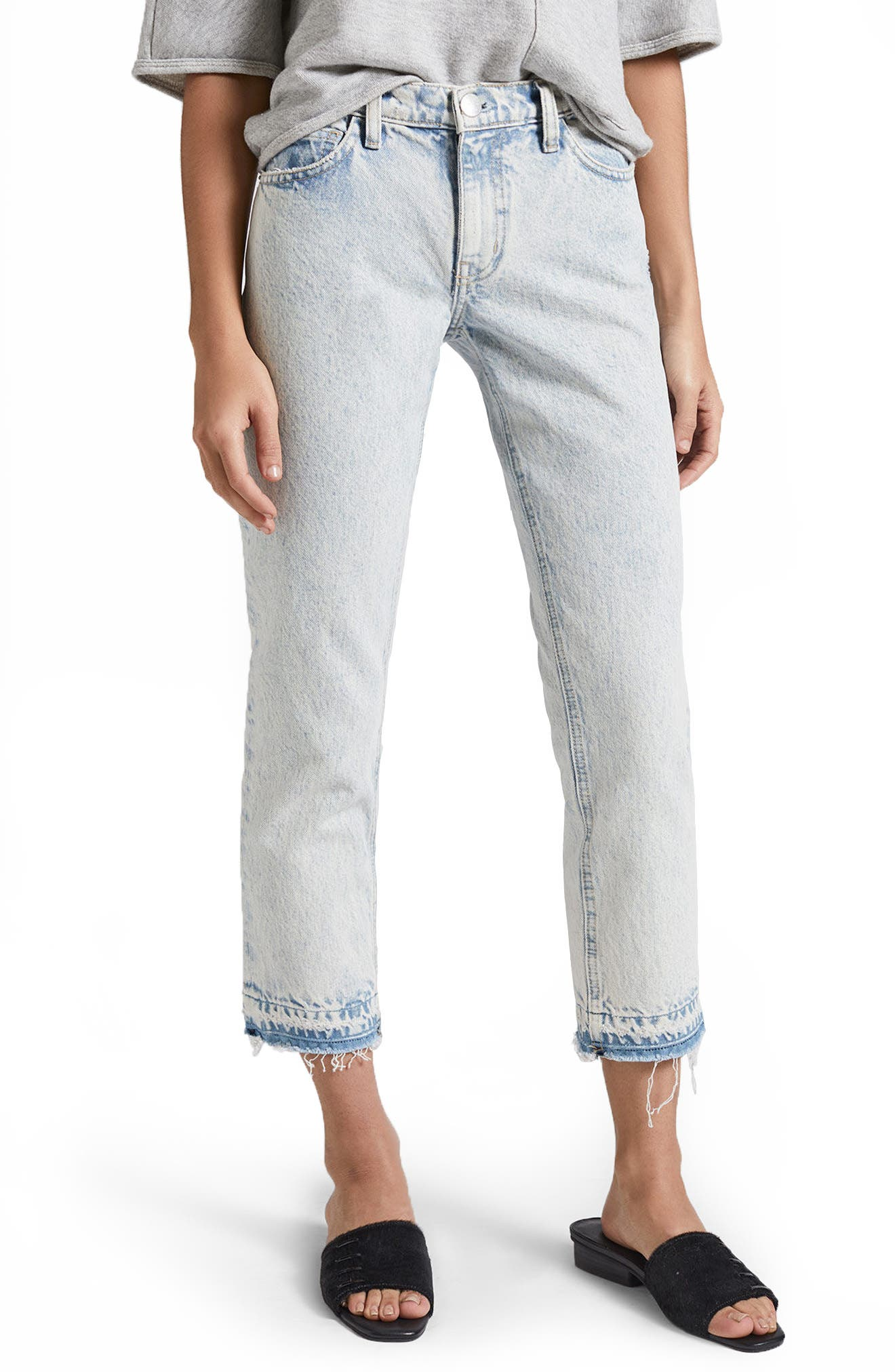 Current/Elliott The Cropped Straight Leg Jeans (Harding With Released Hem)