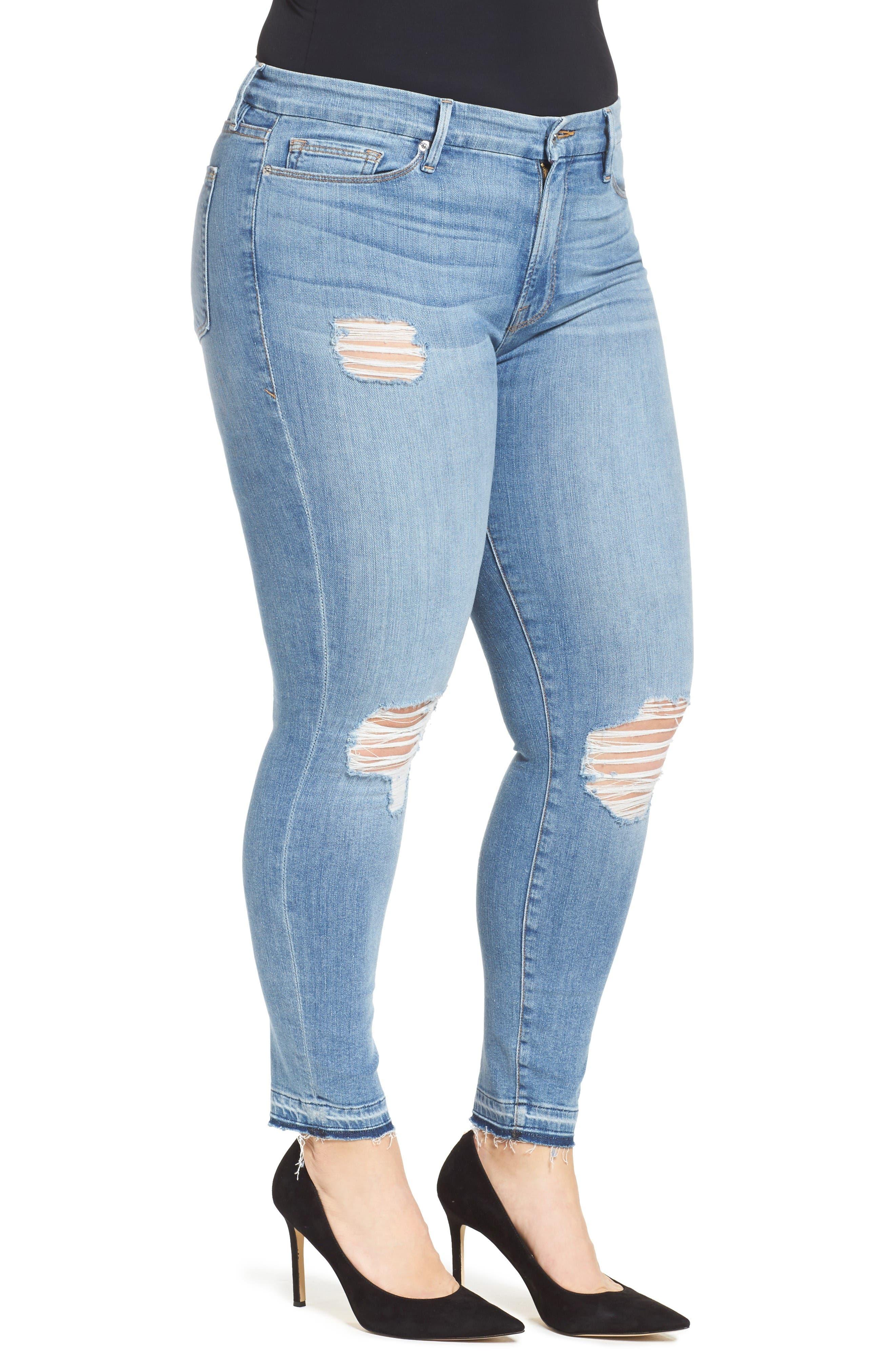 Good Legs Released Hem Skinny Jeans,                             Alternate thumbnail 9, color,                             Blue 023