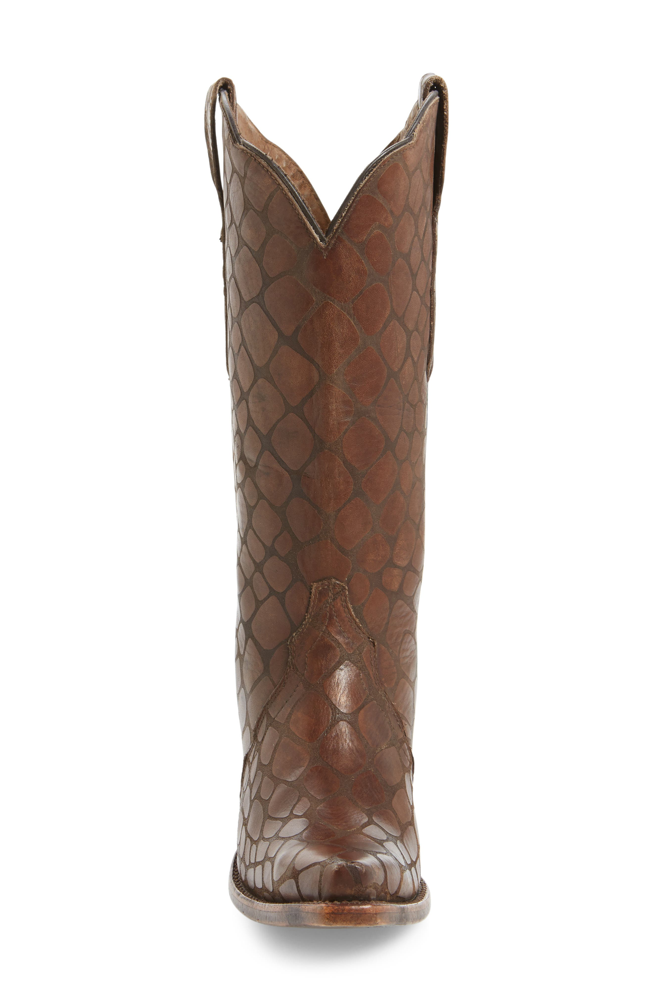 Antebellum Croc Embossed Western Boot,                             Alternate thumbnail 3, color,                             Brown Leather