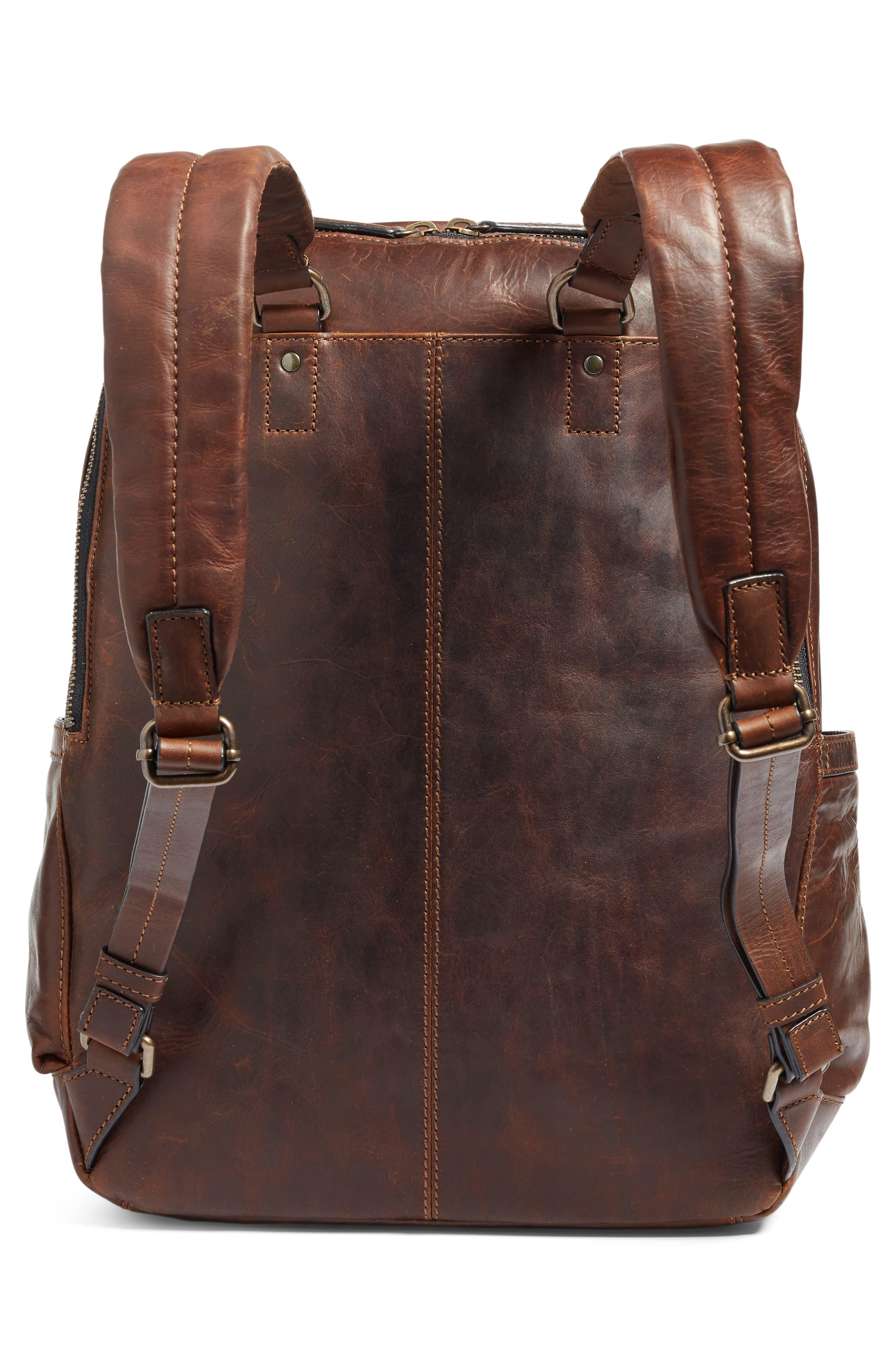 'Logan' Leather Backpack,                             Alternate thumbnail 3, color,                             Dark Brown