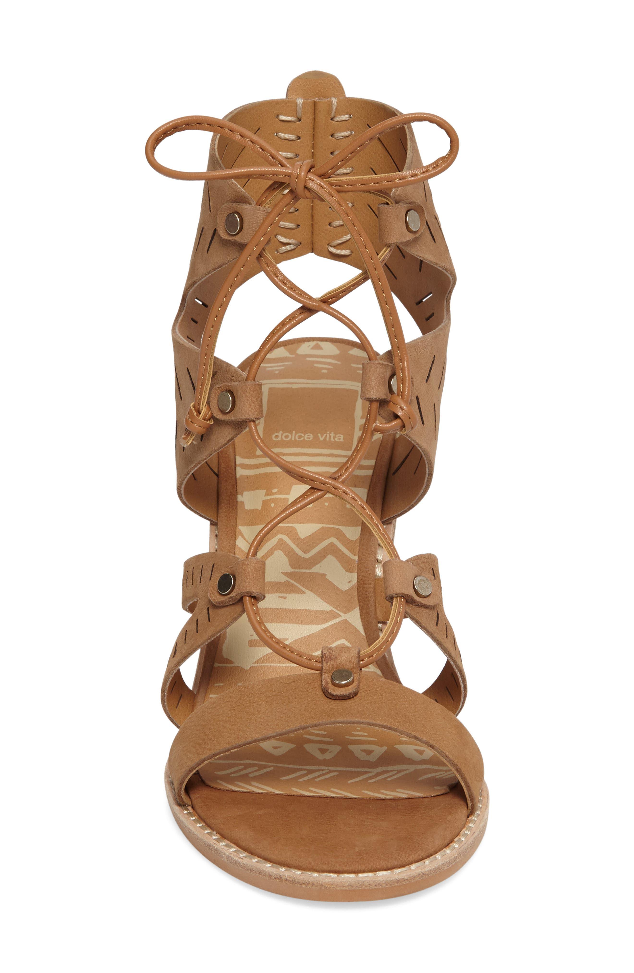 Luci Ghillie Lace Sandal,                             Alternate thumbnail 3, color,                             Saddle Nubuck Leather