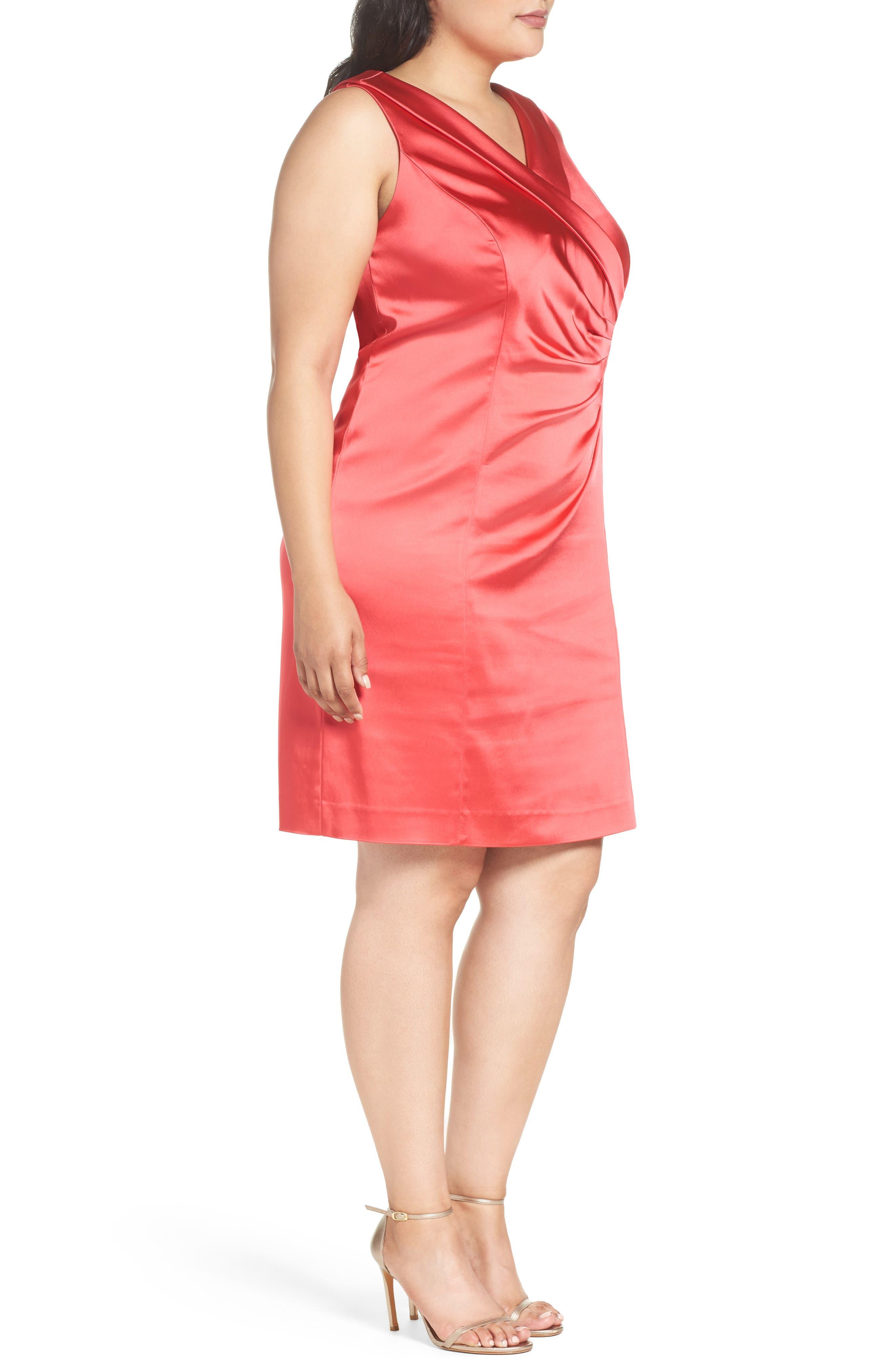 Collared Faux Wrap Dress,                             Alternate thumbnail 3, color,                             Geranium
