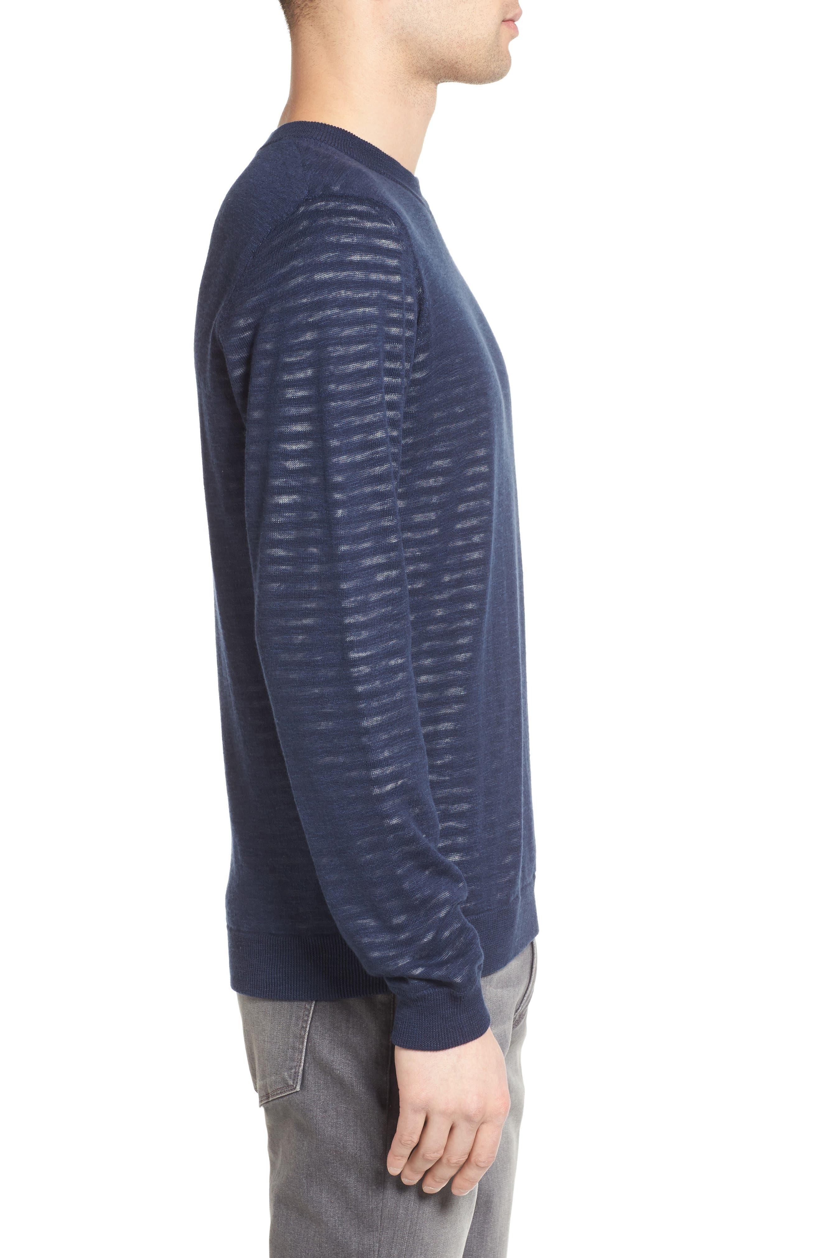 Luca Reversible Cotton & Linen Pullover,                             Alternate thumbnail 3, color,                             Turbid Stripe Night Sea/ White