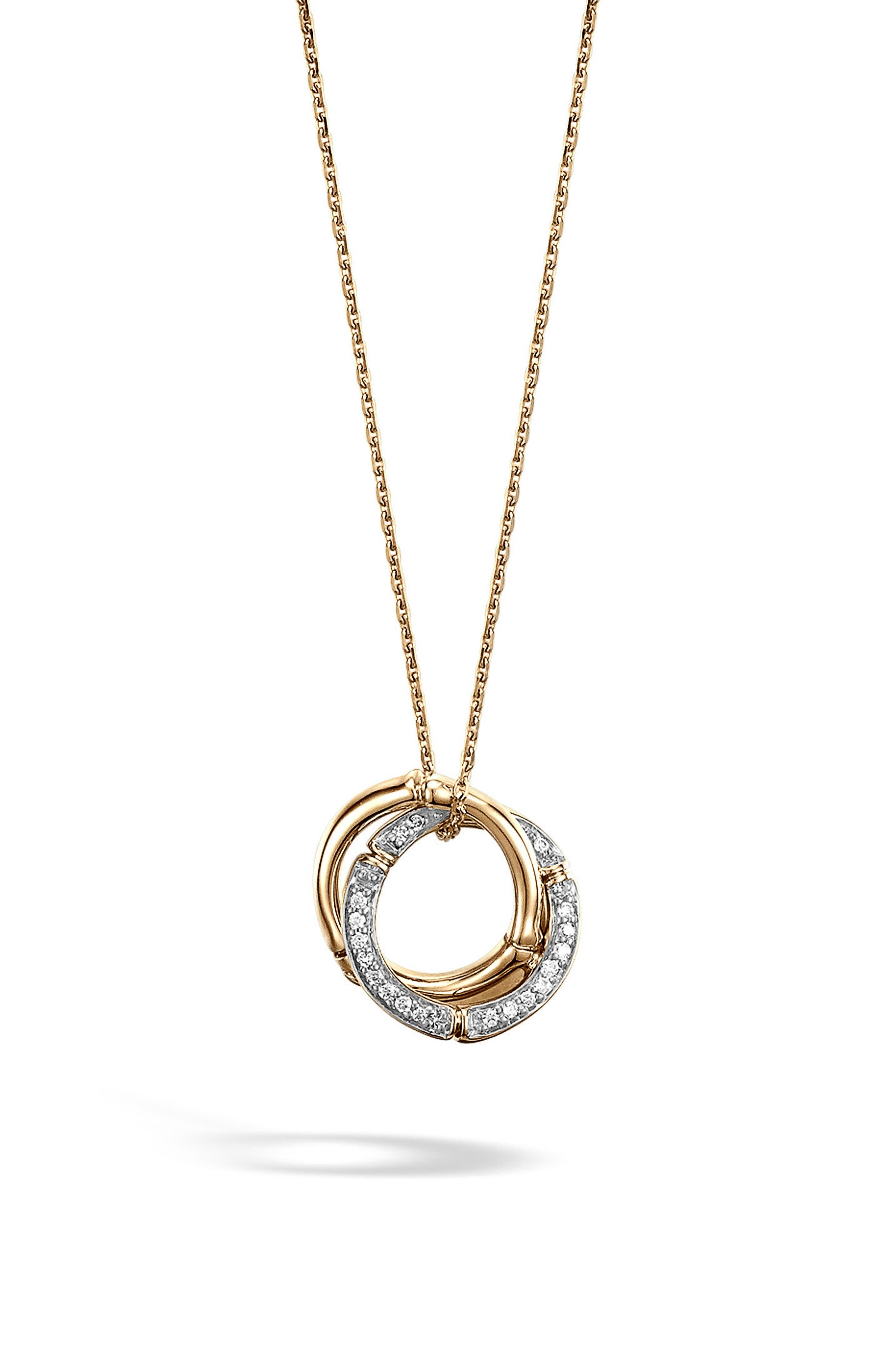 Alternate Image 1 Selected - John Hardy Bamboo Diamond & 18k Gold Pendant Necklace