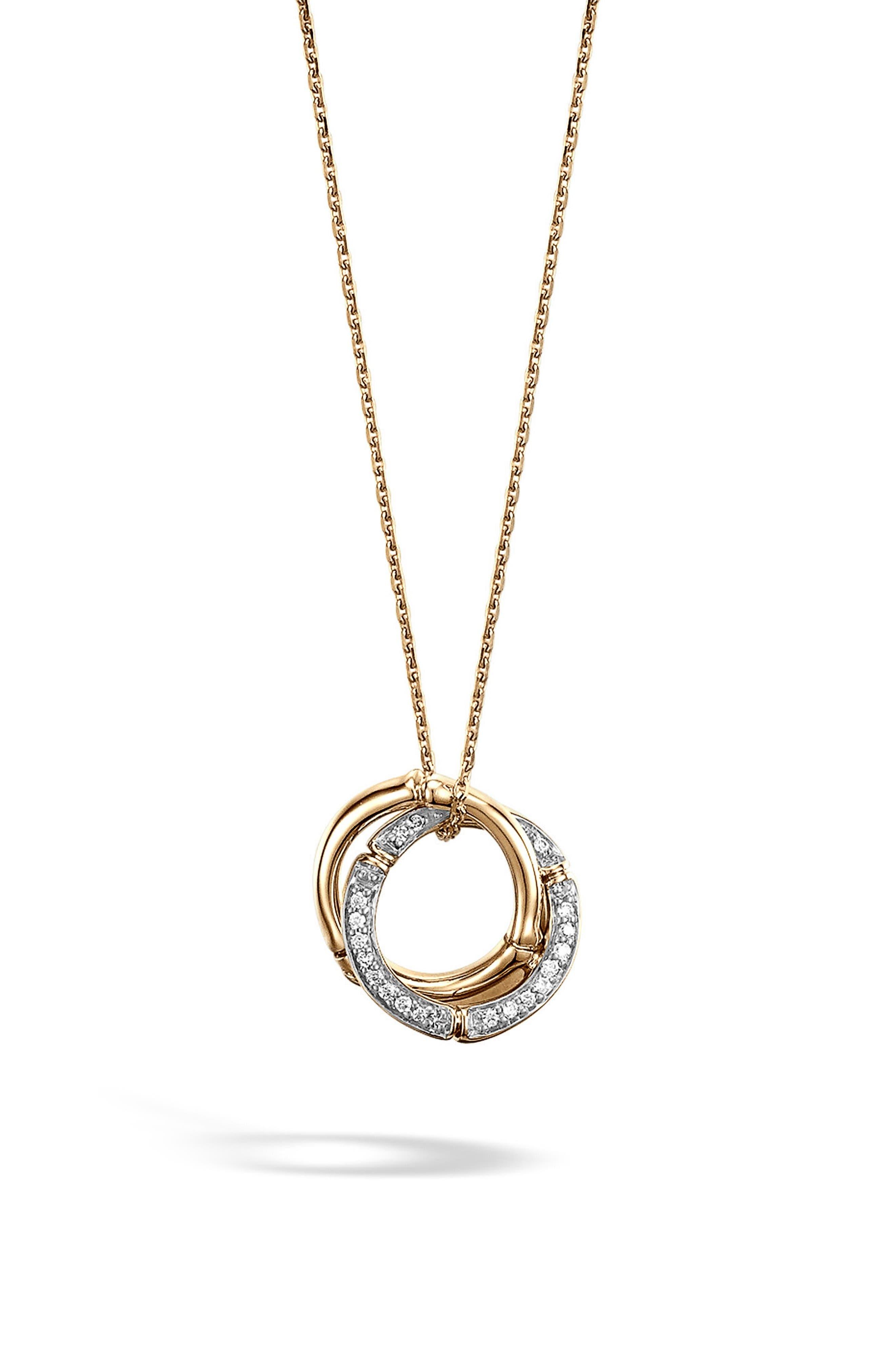 Bamboo Diamond & 18k Gold Pendant Necklace,                             Main thumbnail 1, color,                             Gold