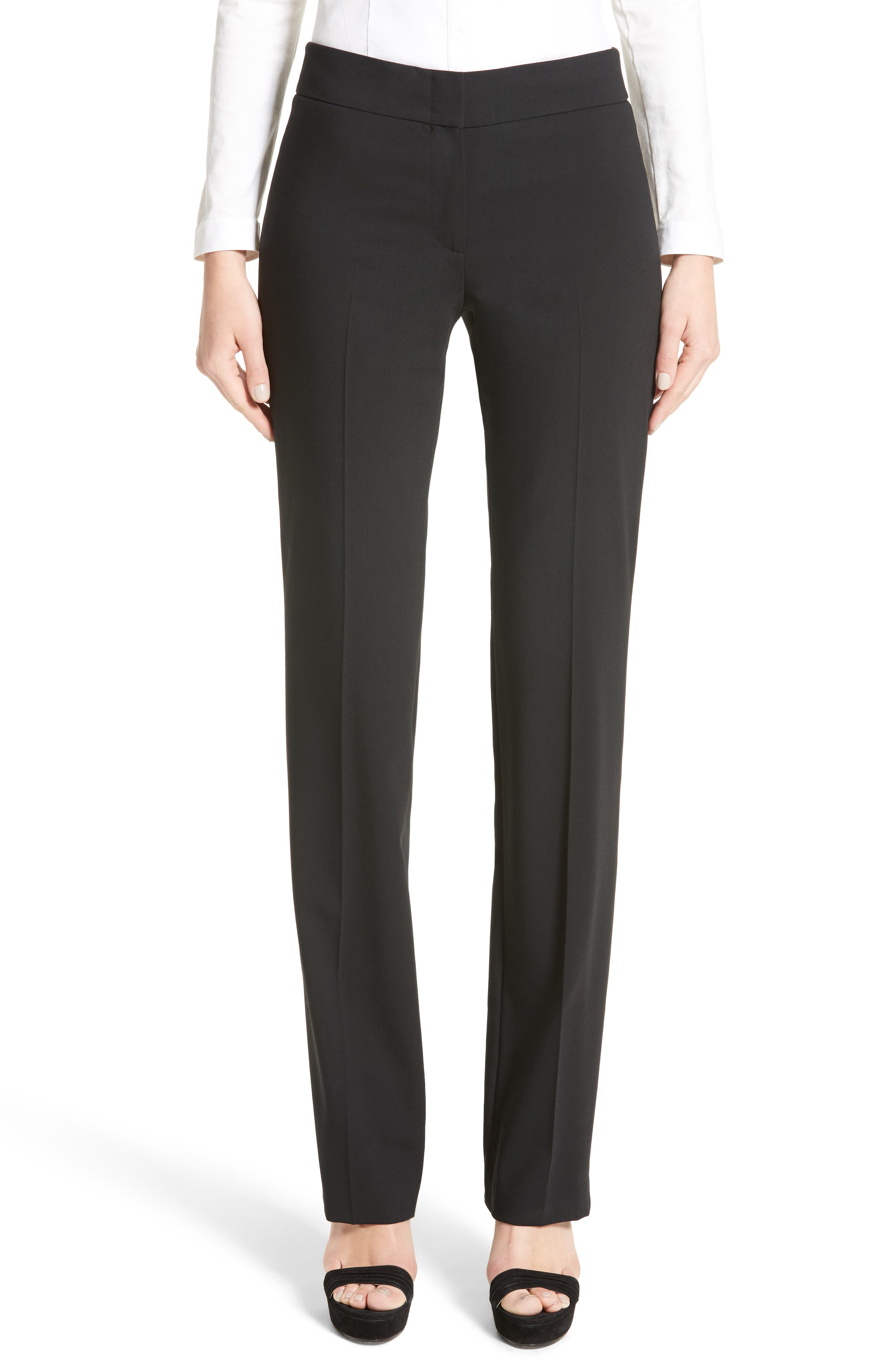 'Madison' Straight Leg Wool Trousers,                             Main thumbnail 1, color,                             Black