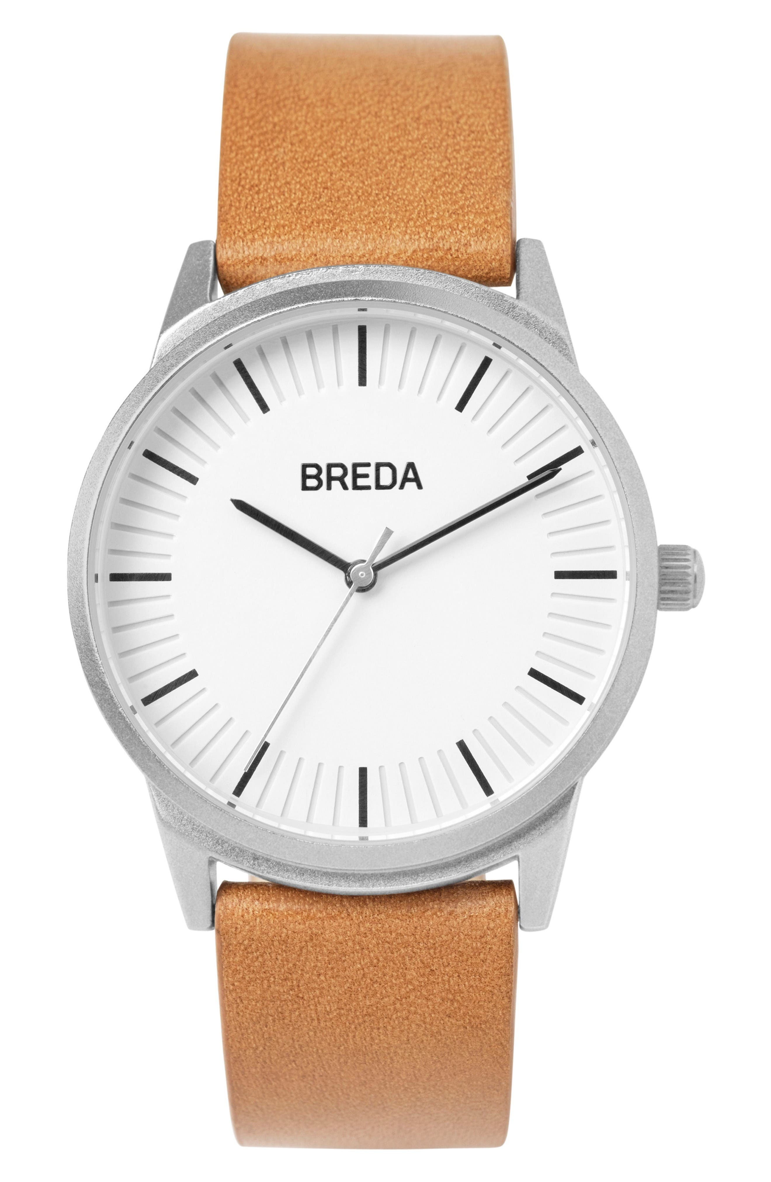 Bresson Leather Strap Watch, 42mm,                         Main,                         color, Silver/ Brown