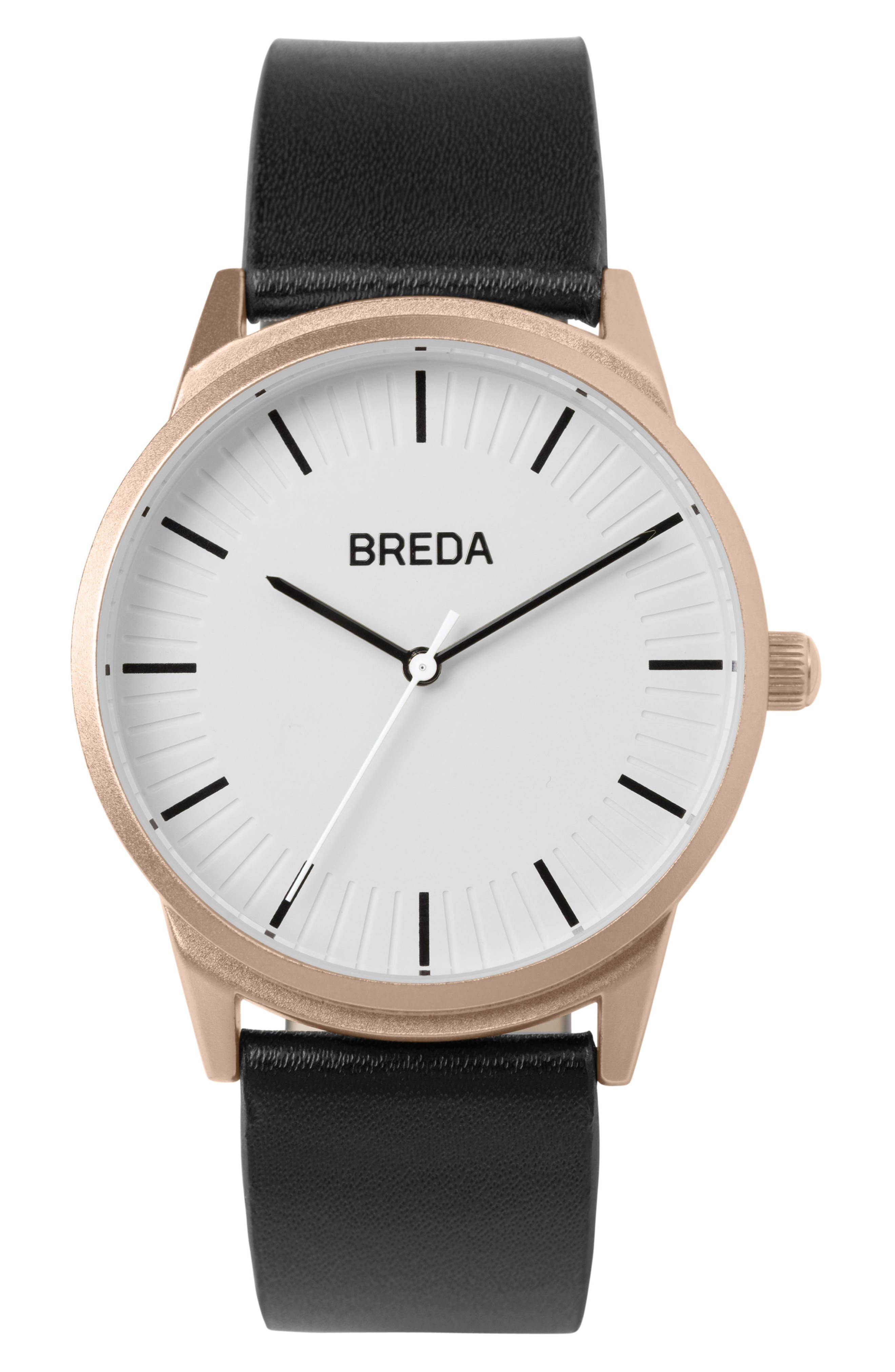 Bresson Leather Strap Watch, 42mm,                         Main,                         color, Cool Grey/ Black
