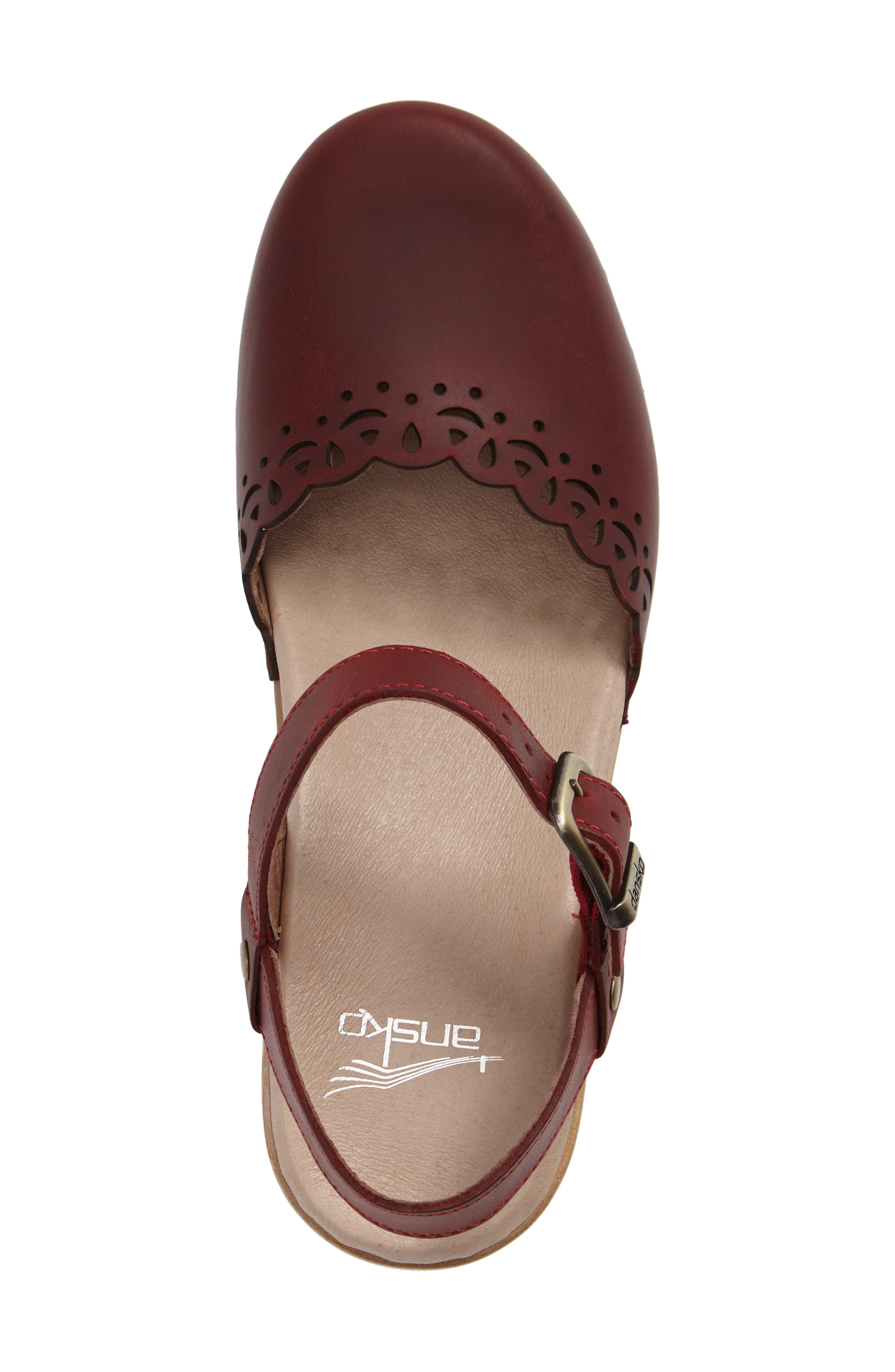 'Marta' Ankle Strap Clog,                             Alternate thumbnail 3, color,                             Red Oiled Leather
