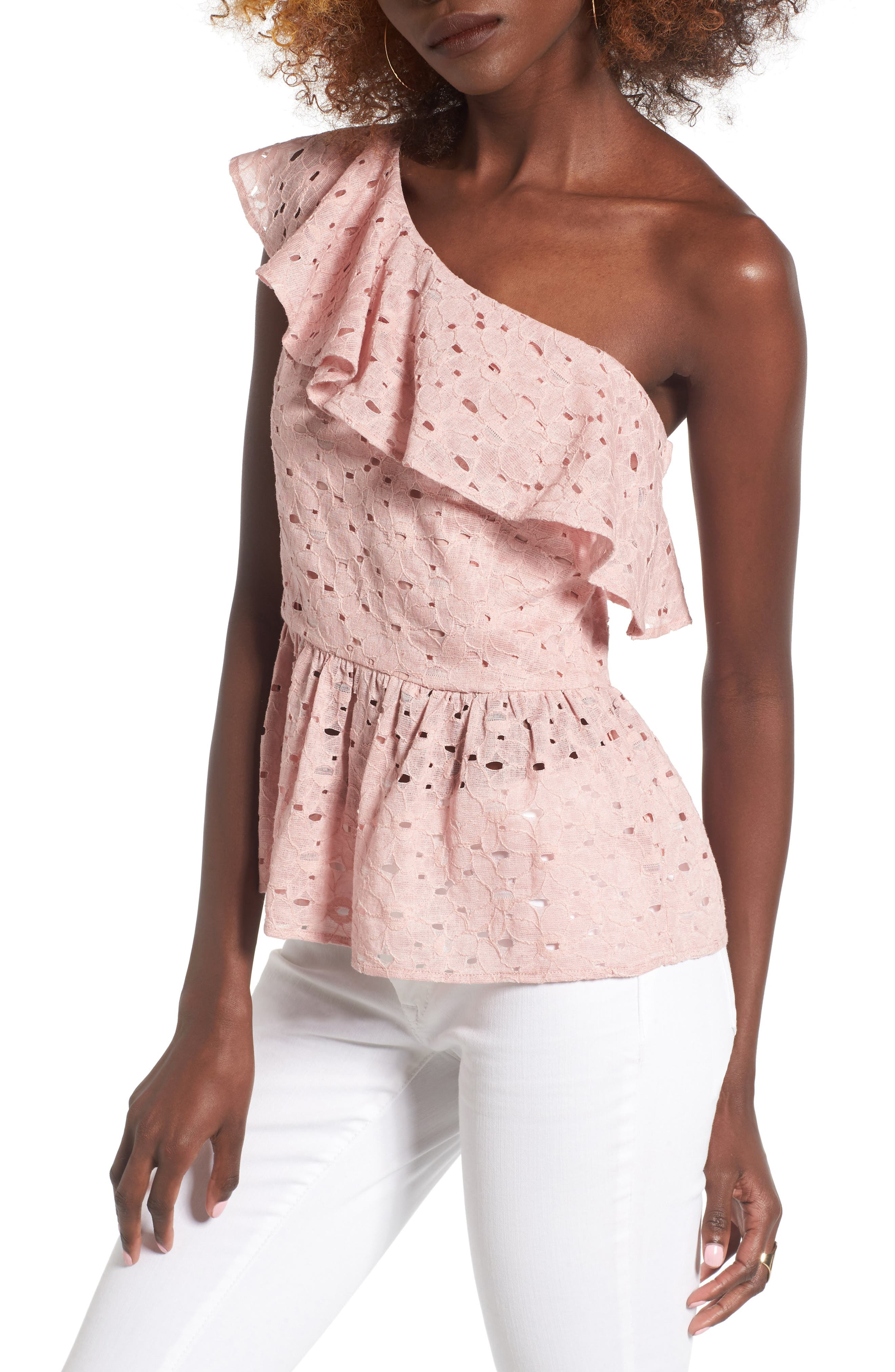 Lace One-Shoulder Peplum Top,                         Main,                         color, Blush Pink
