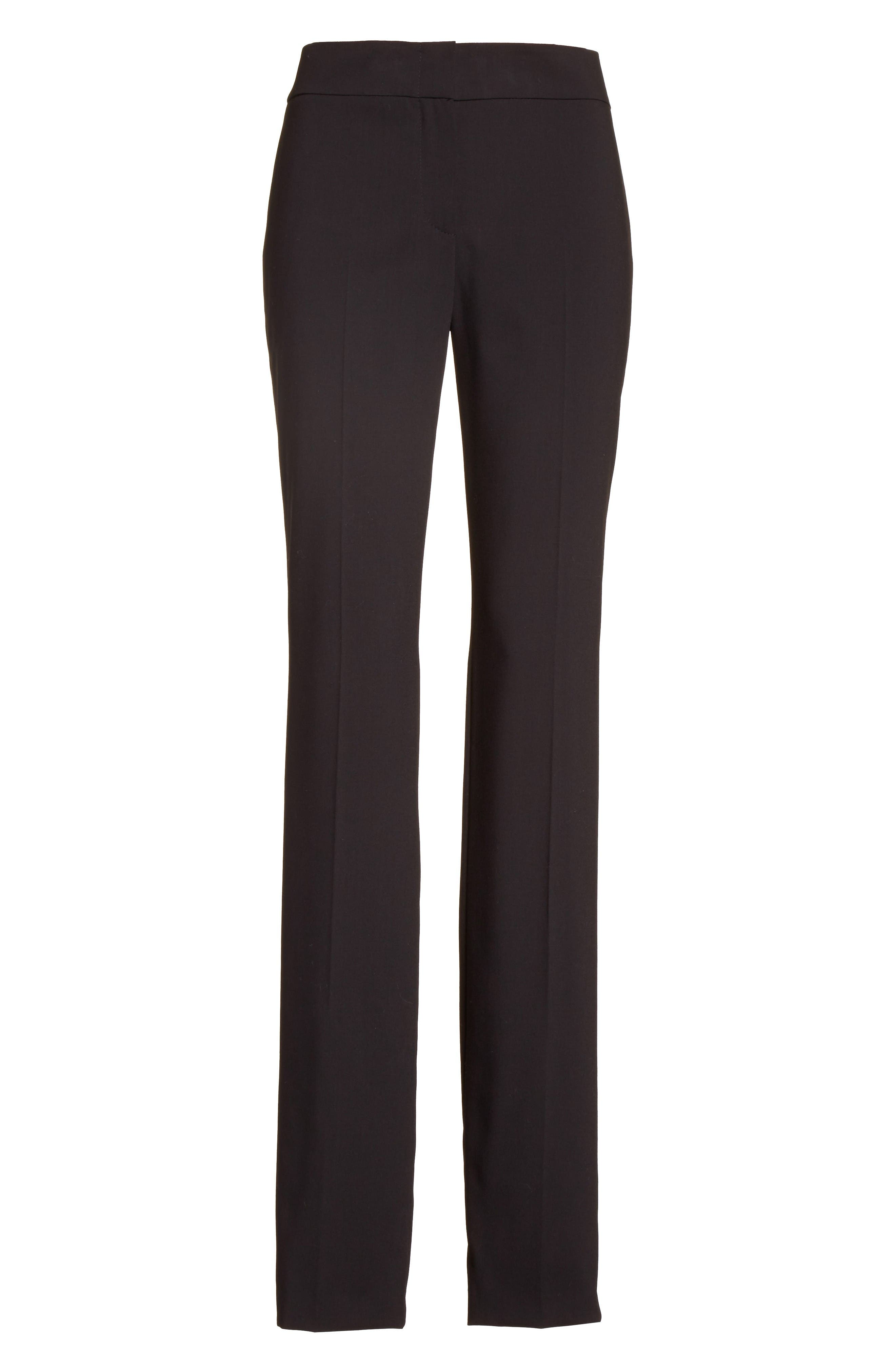 'Madison' Straight Leg Wool Trousers,                             Alternate thumbnail 6, color,                             Black