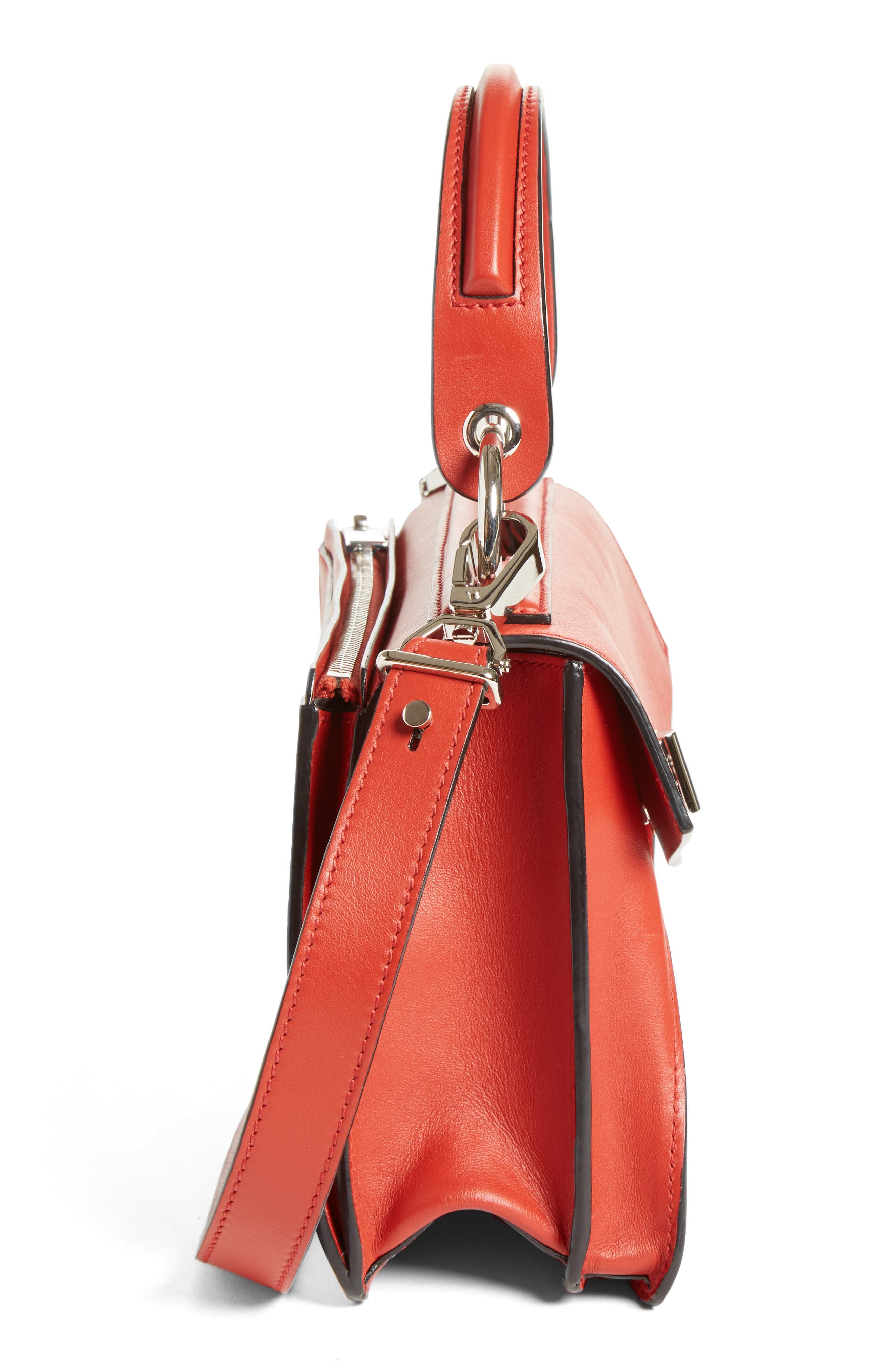 'Small Hava' Top Handle Calfskin Leather Satchel,                             Alternate thumbnail 4, color,                             Brick