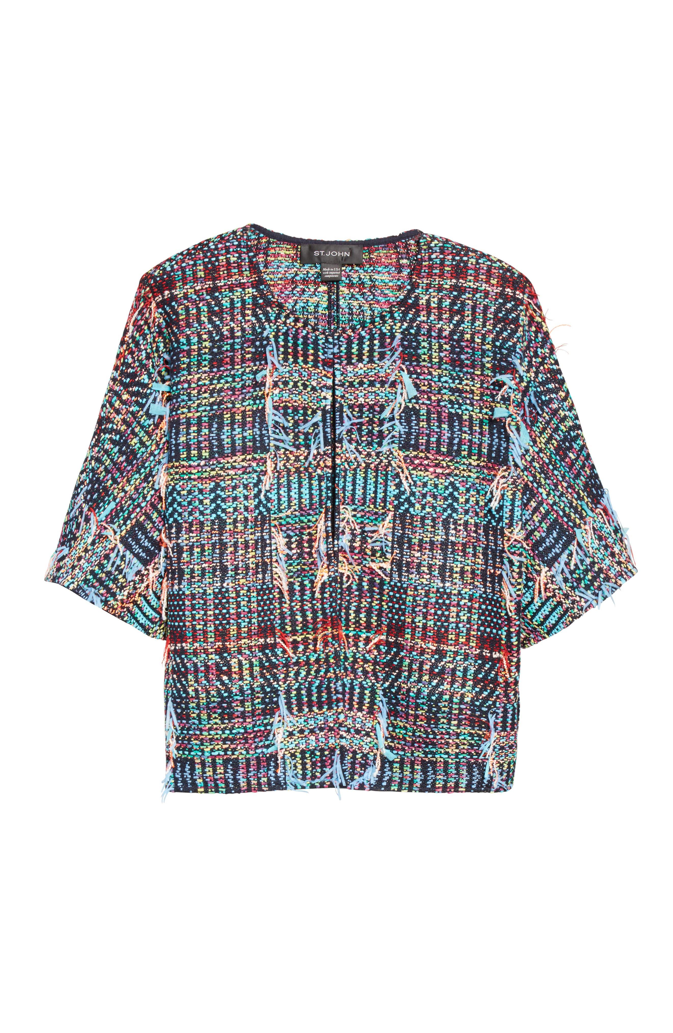 Dara Fringe Knit Jacket,                             Alternate thumbnail 7, color,                             Navy Multi