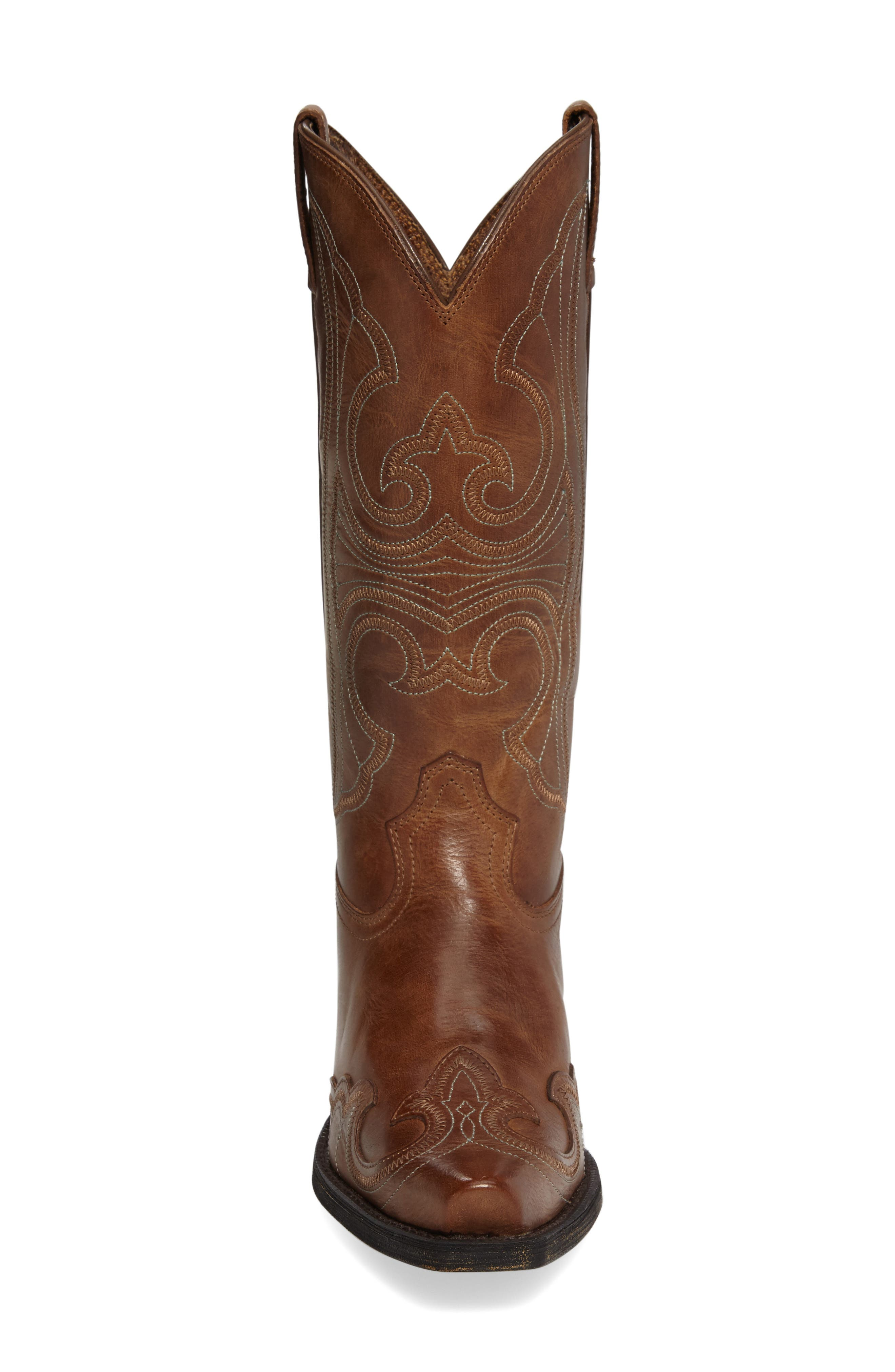 Round Up D-Toe Wingtip Western Boot,                             Alternate thumbnail 3, color,                             Sandstorm Leather