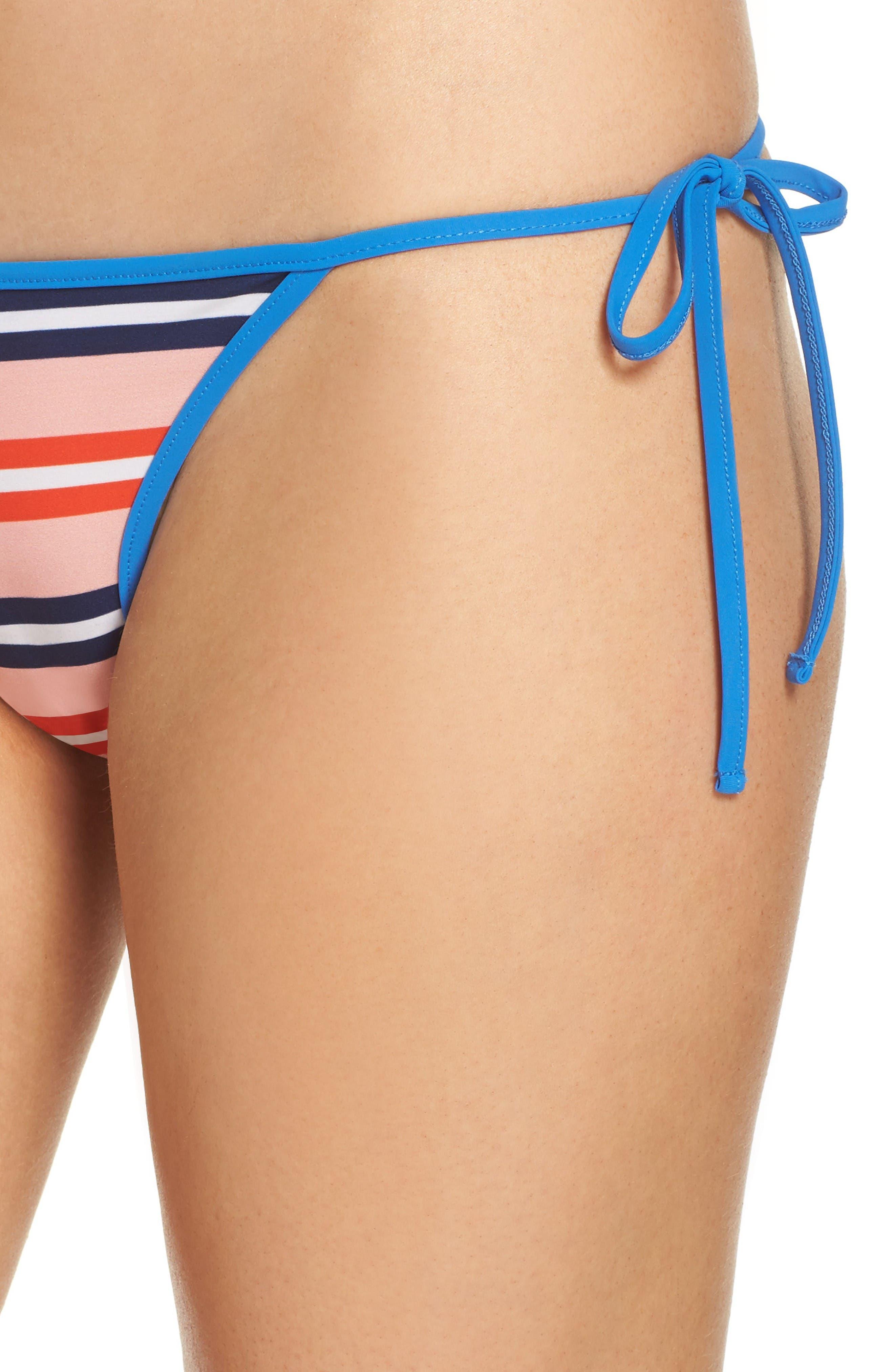 Side Tie Bikini Bottoms,                             Alternate thumbnail 4, color,                             Aikin Stripe Sm Flame Red