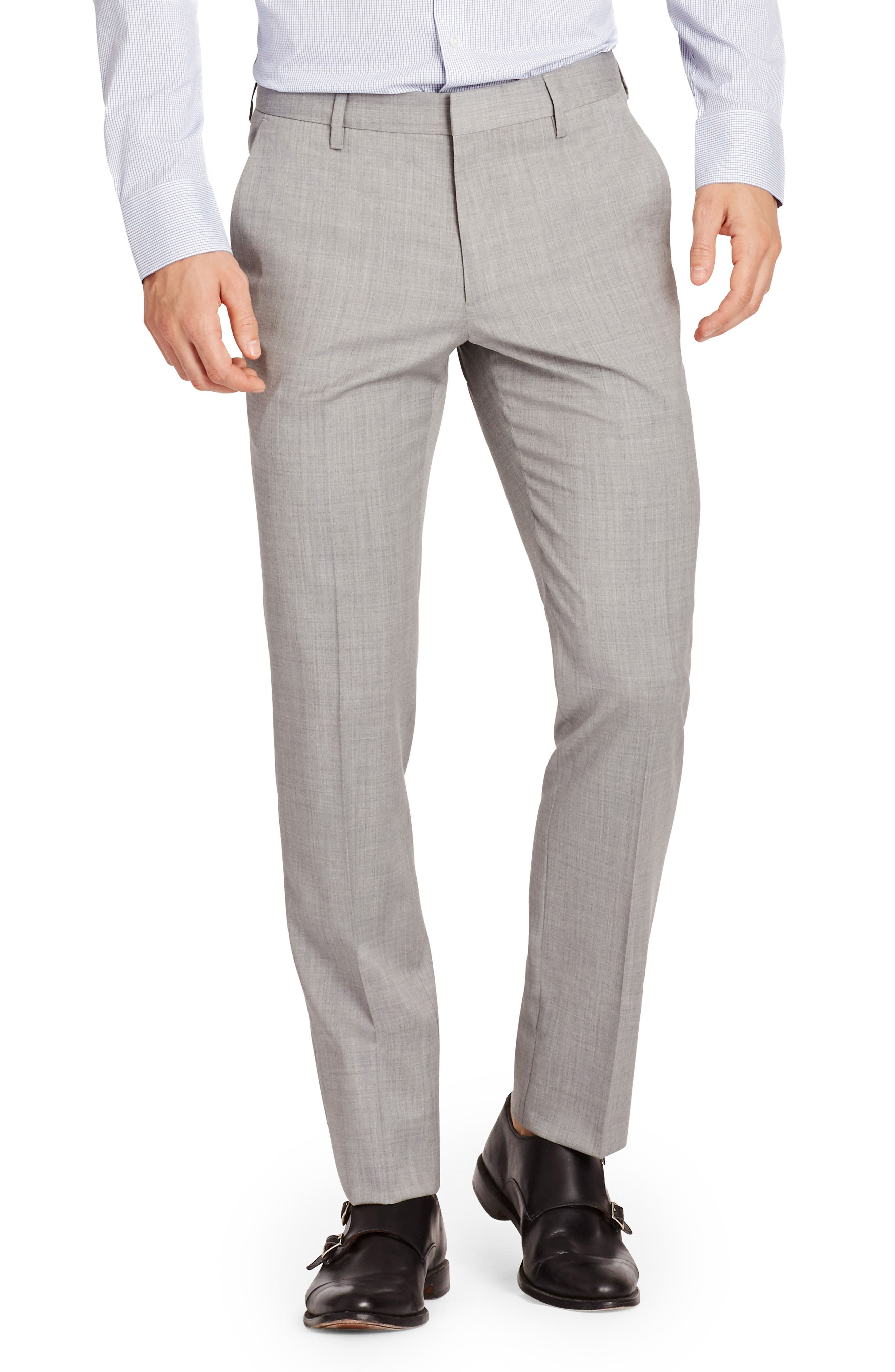 Jetsetter Flat Front Solid Stretch Wool Trousers,                         Main,                         color, Light Grey