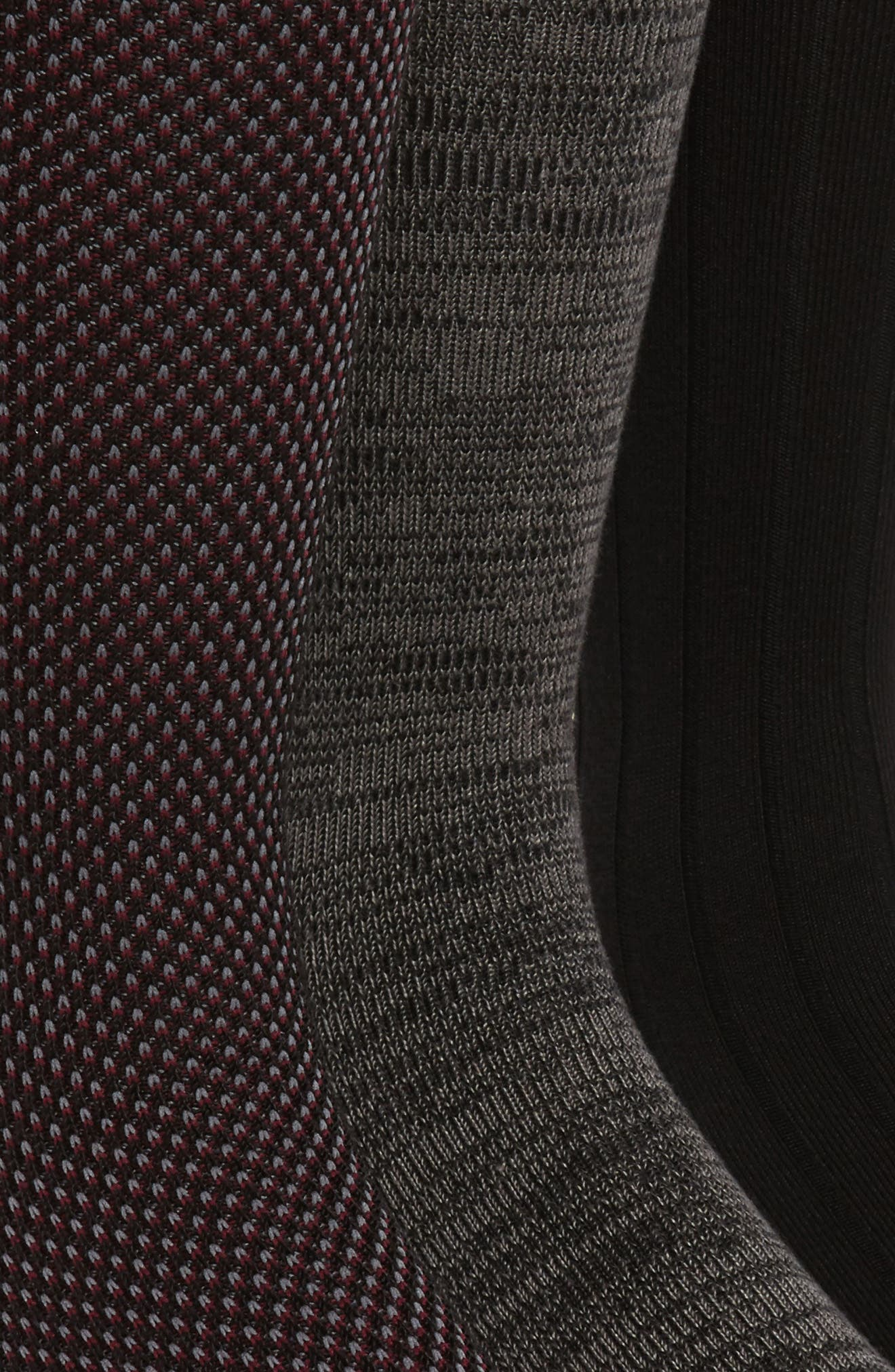 Supersoft Bird's Eye Assorted 3-Pack Socks,                             Alternate thumbnail 2, color,                             Black