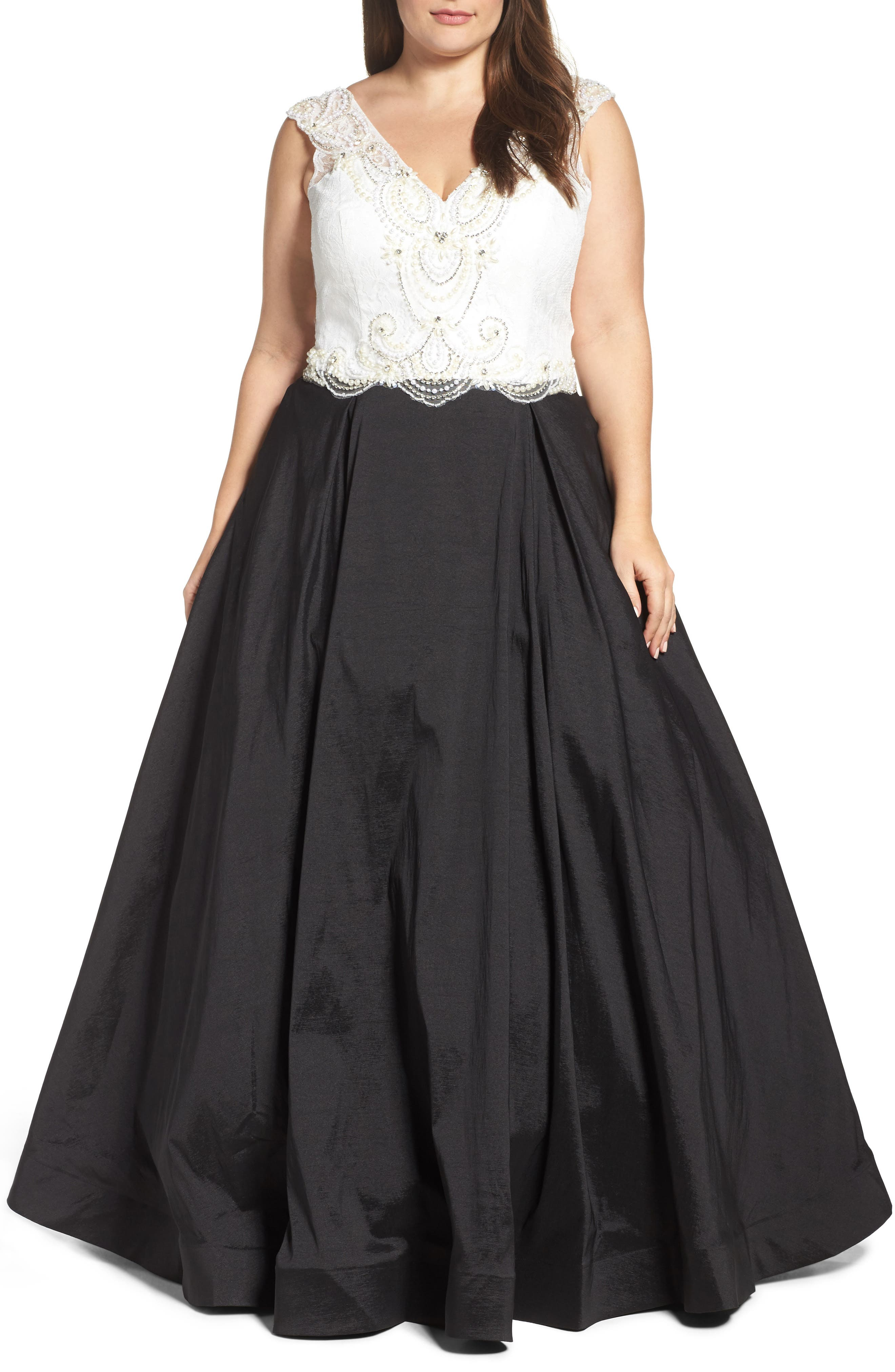 Embellished Lace & Taffeta Ballgown,                             Main thumbnail 1, color,                             Black White