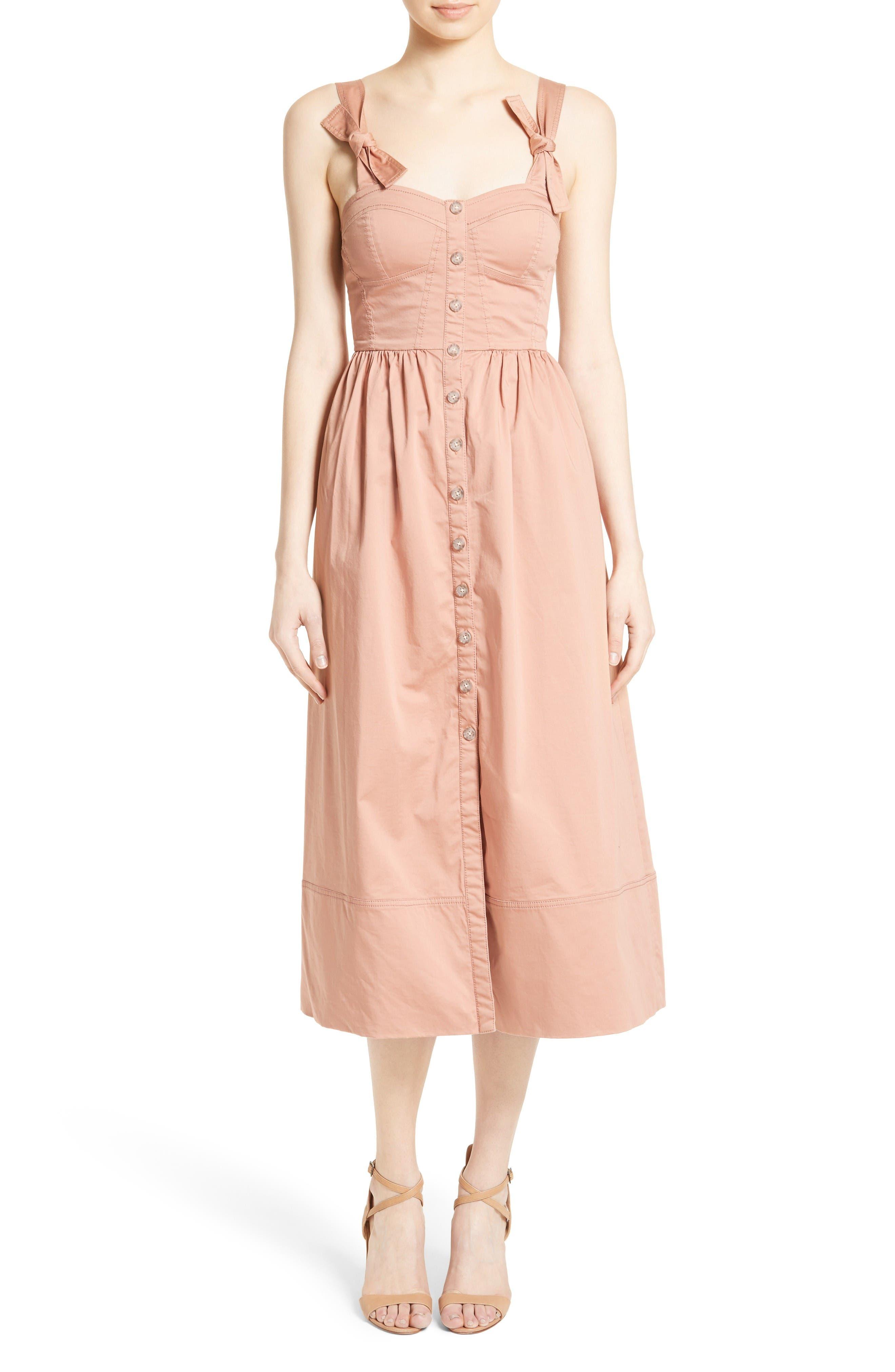 Alternate Image 1 Selected - Rebecca Taylor Stretch Cotton Midi Dress