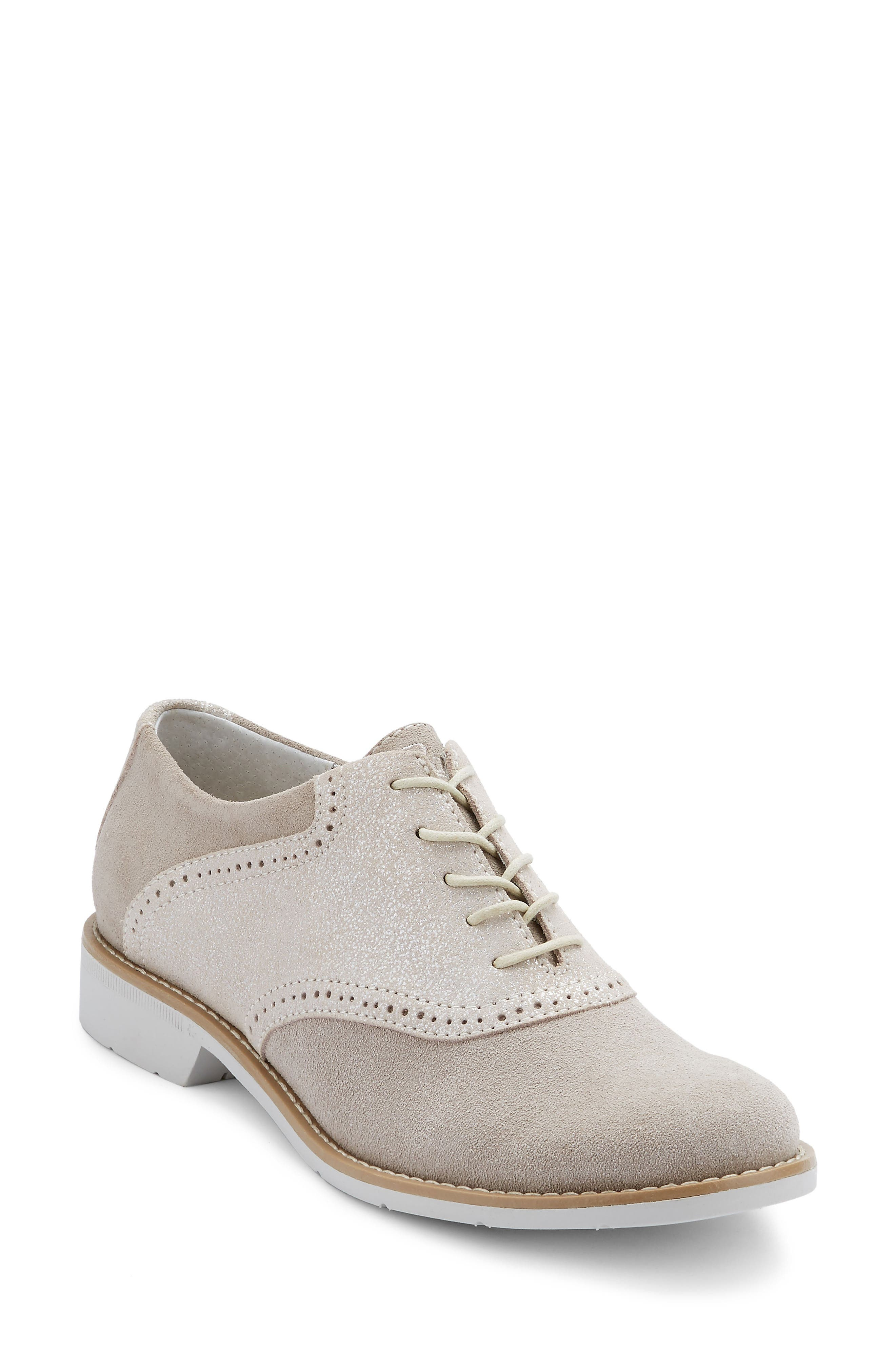 G.H. Bass and Co. Dora Lace-Up Oxford,                             Main thumbnail 1, color,                             Soft Grey/ Silver Suede