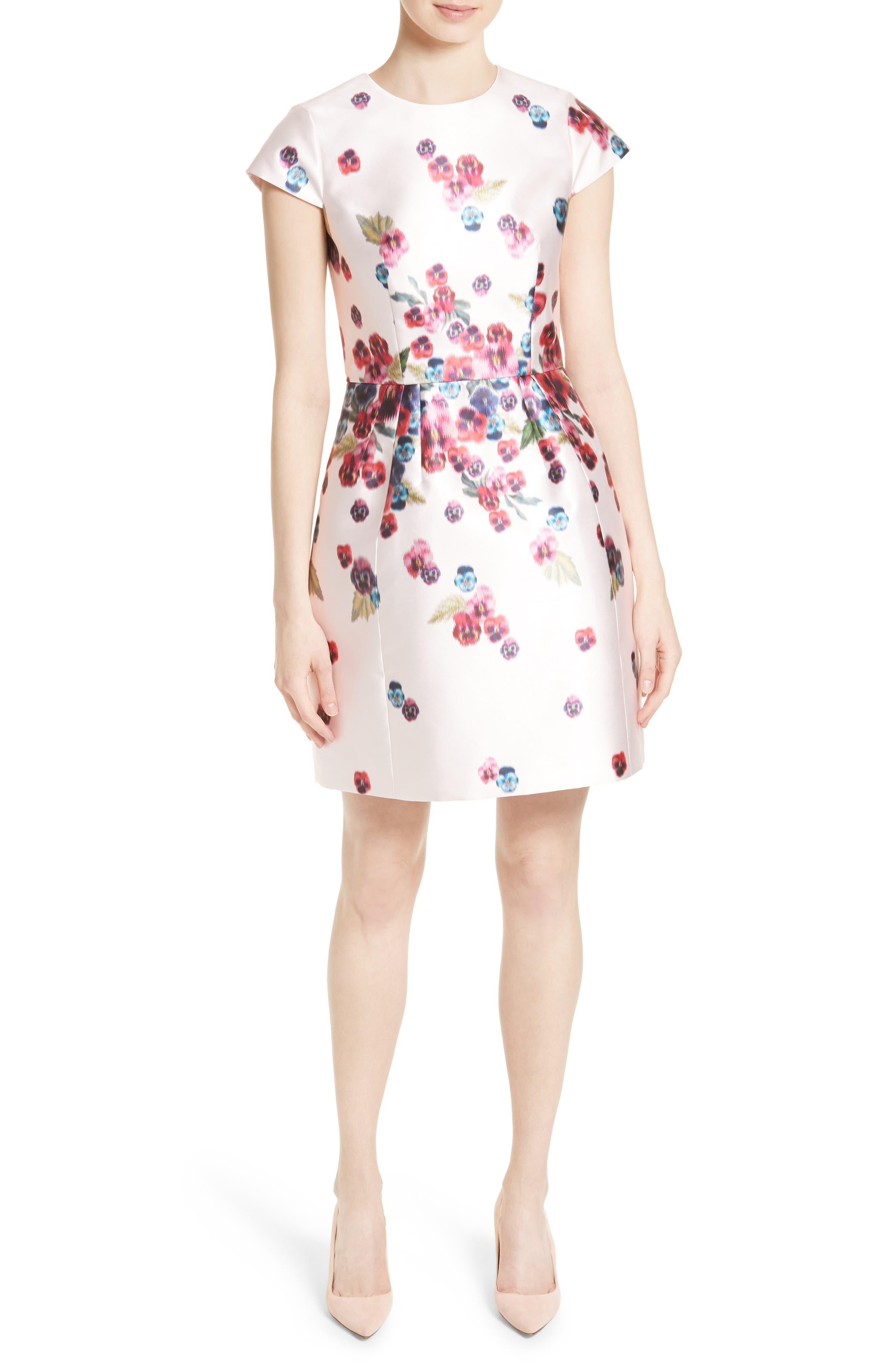 Ibia Floral Print Sheath Dress,                             Main thumbnail 1, color,                             Baby Pink