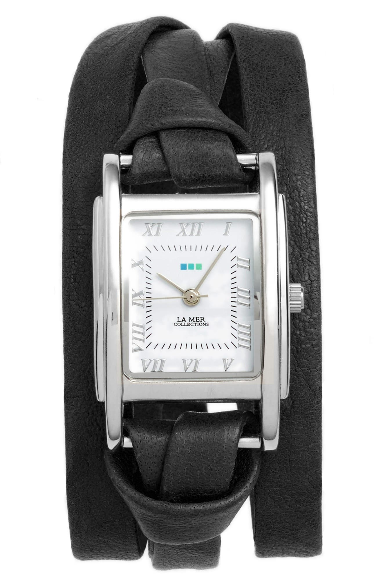'Milwood' Leather Wrap Watch, 35mm,                         Main,                         color, Black/ Silver