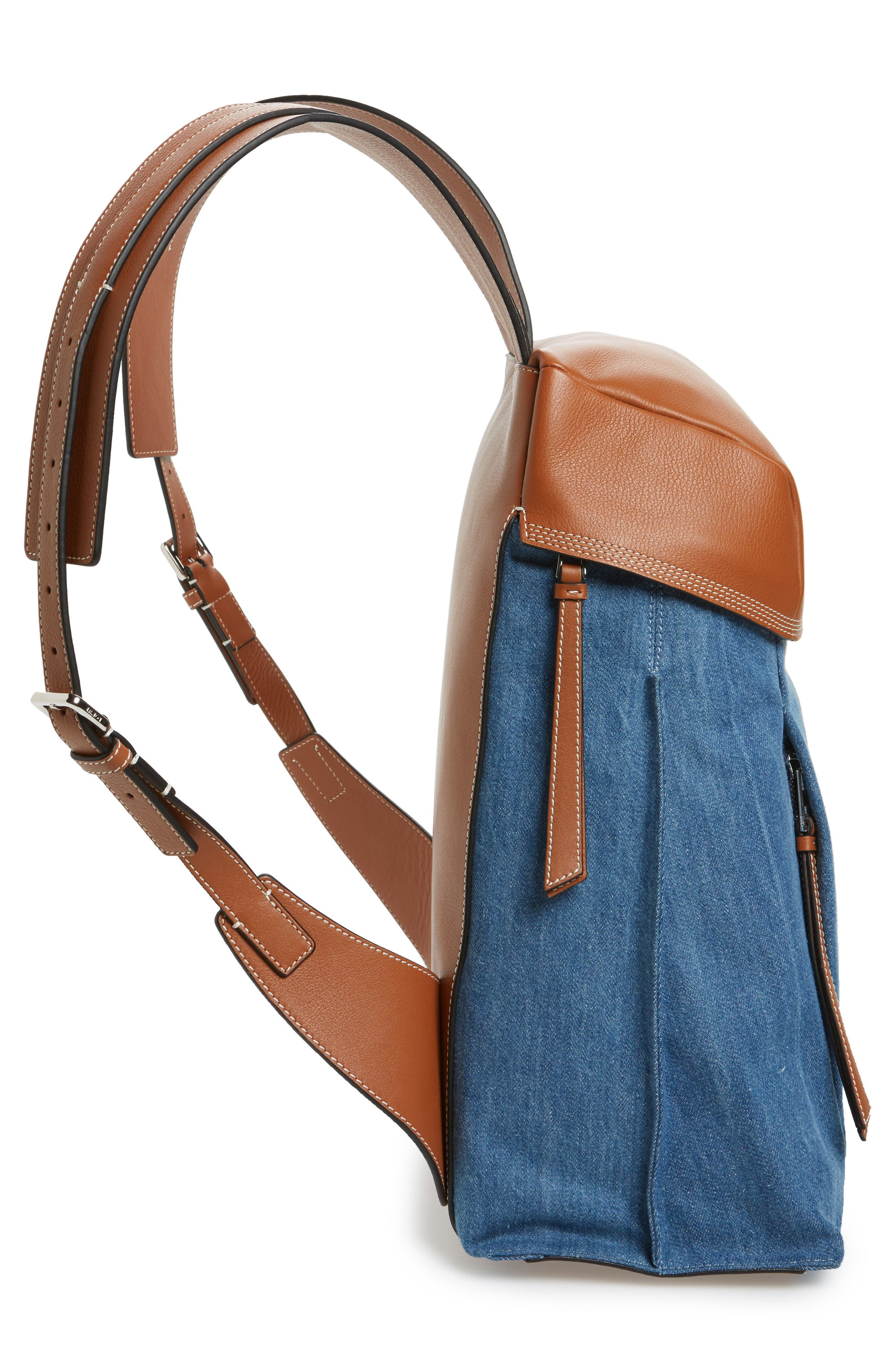 T Small Denim & Leather Backpack,                             Alternate thumbnail 4, color,                             Dark Blue/Tan