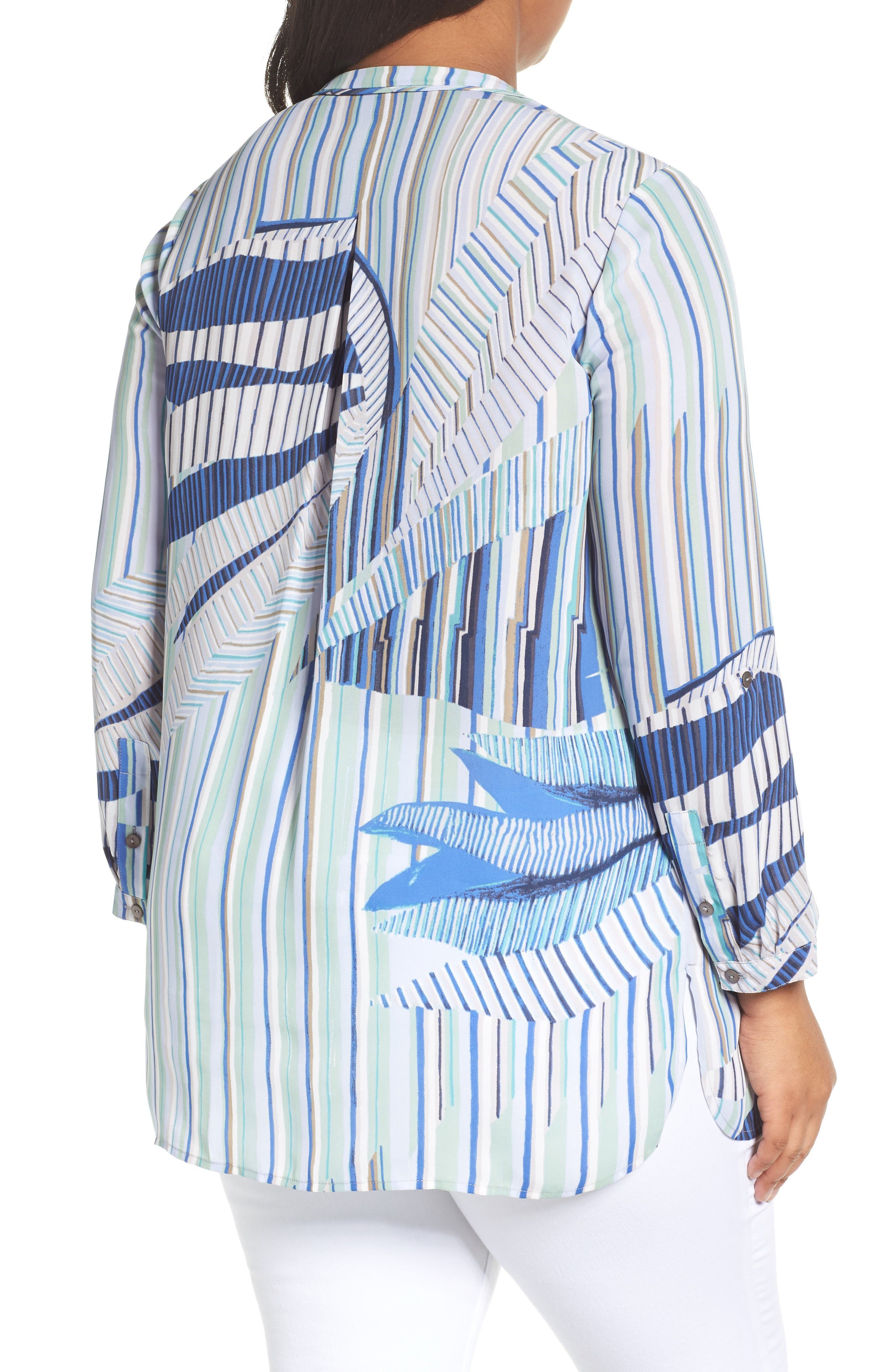Palm Lines Roll Sleeve Blouse,                             Alternate thumbnail 2, color,                             Blue Multi
