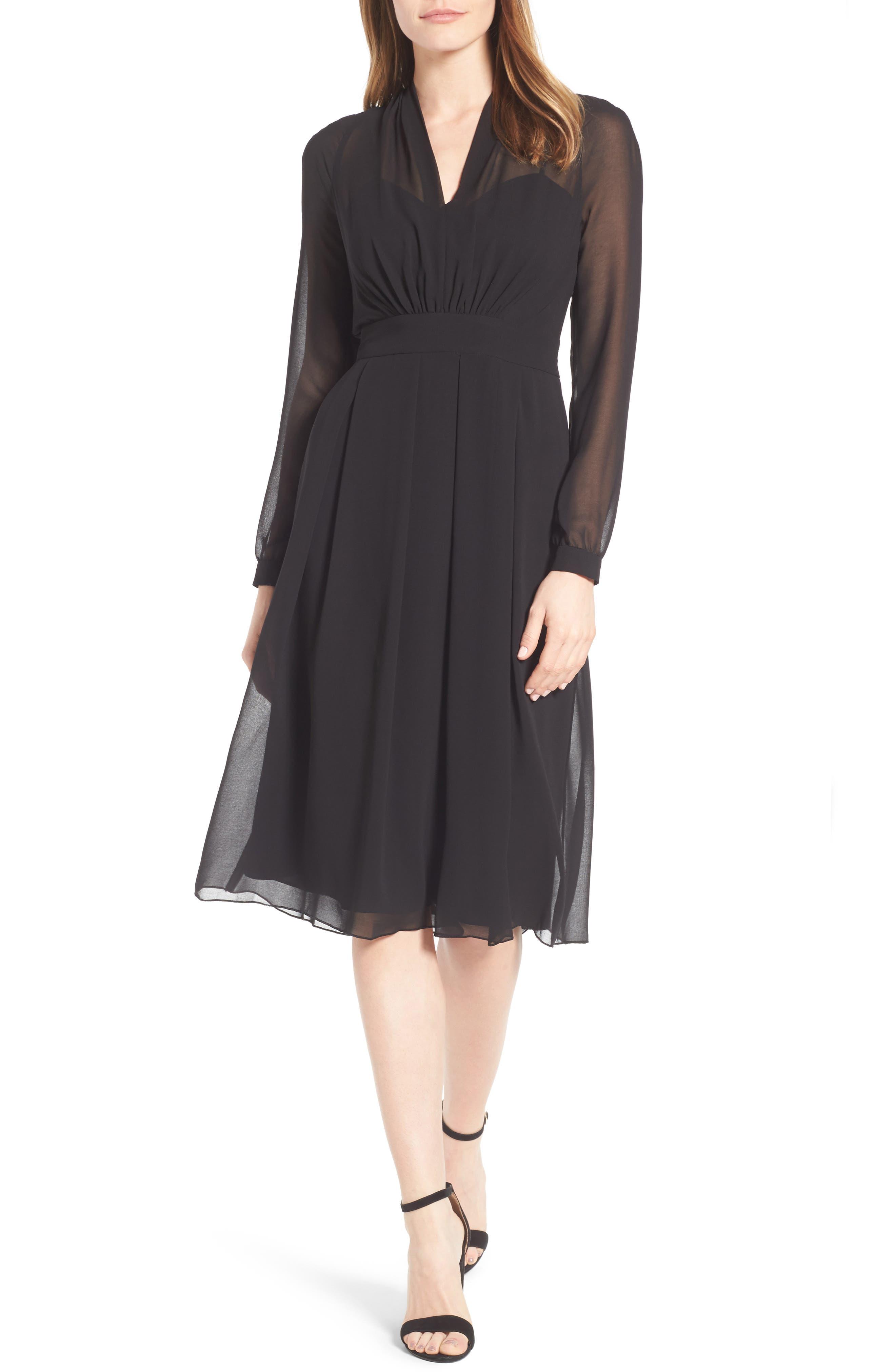 A-Line Chiffon Dress,                         Main,                         color, Black