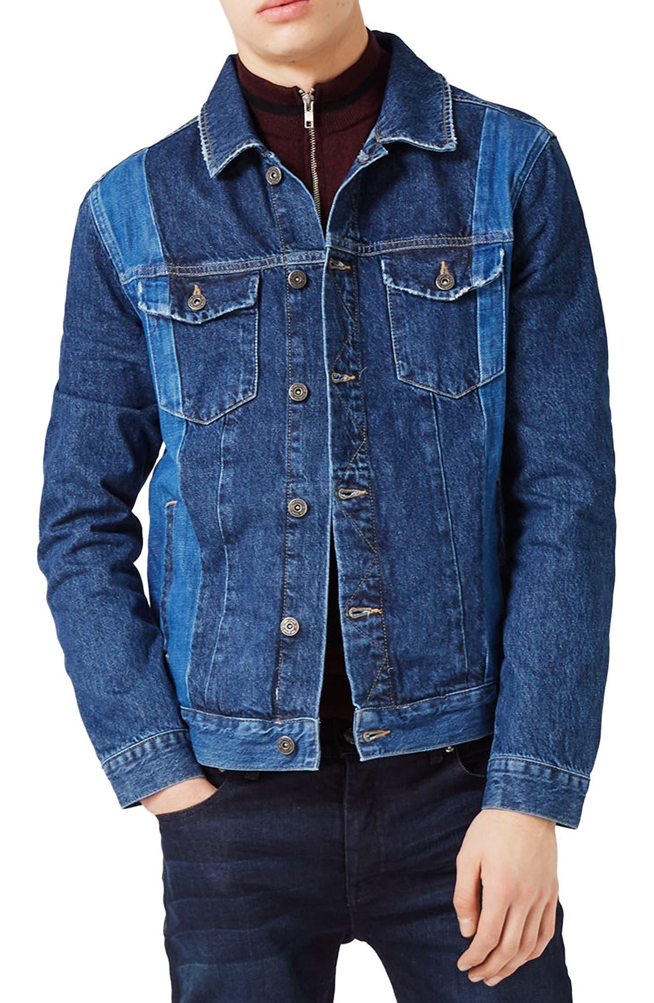 Alternate Image 1 Selected - Topman Two-Tone Denim Jacket