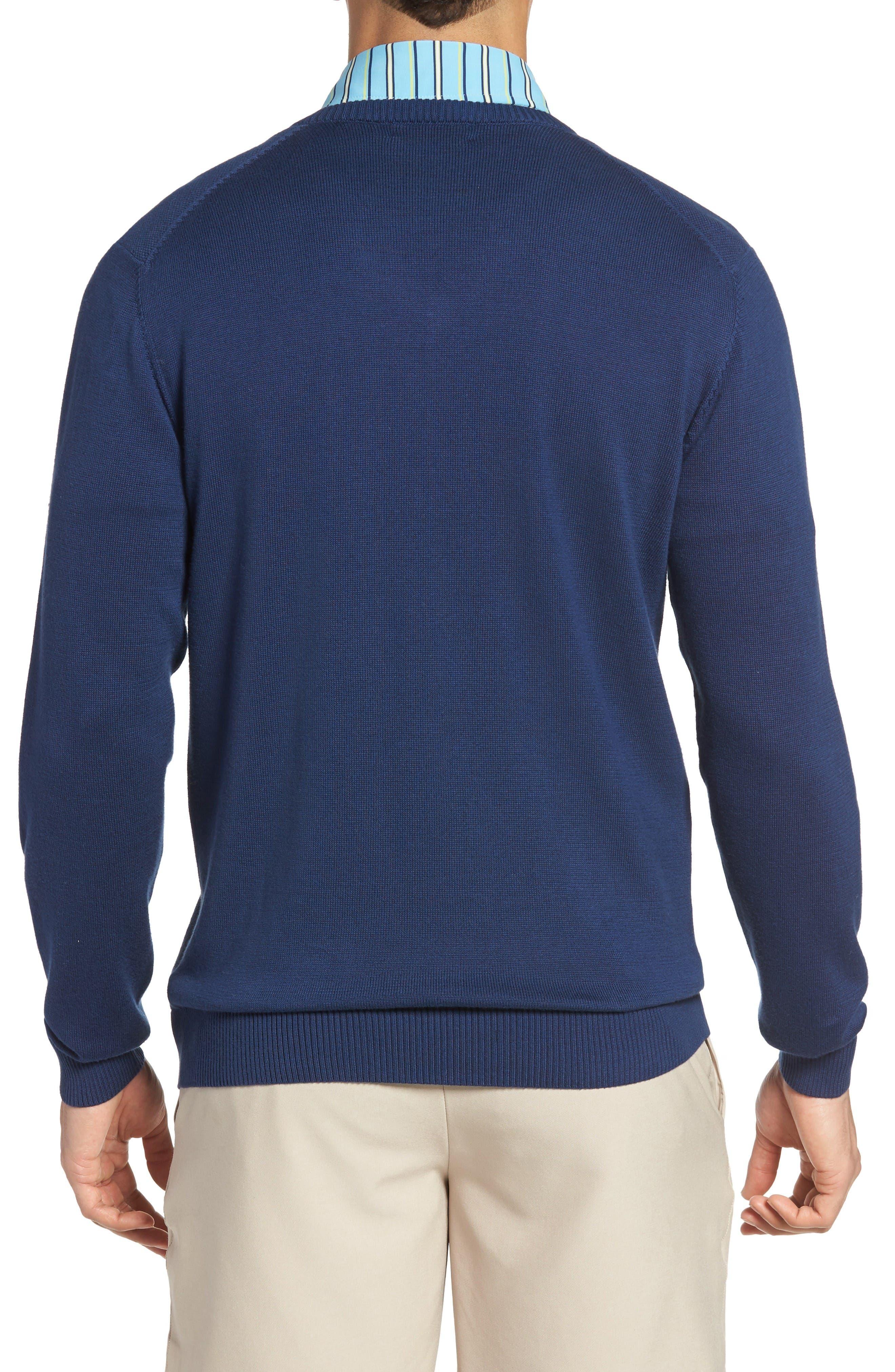 Piqué Jersey V-Neck Sweater,                             Alternate thumbnail 2, color,                             Summer Navy