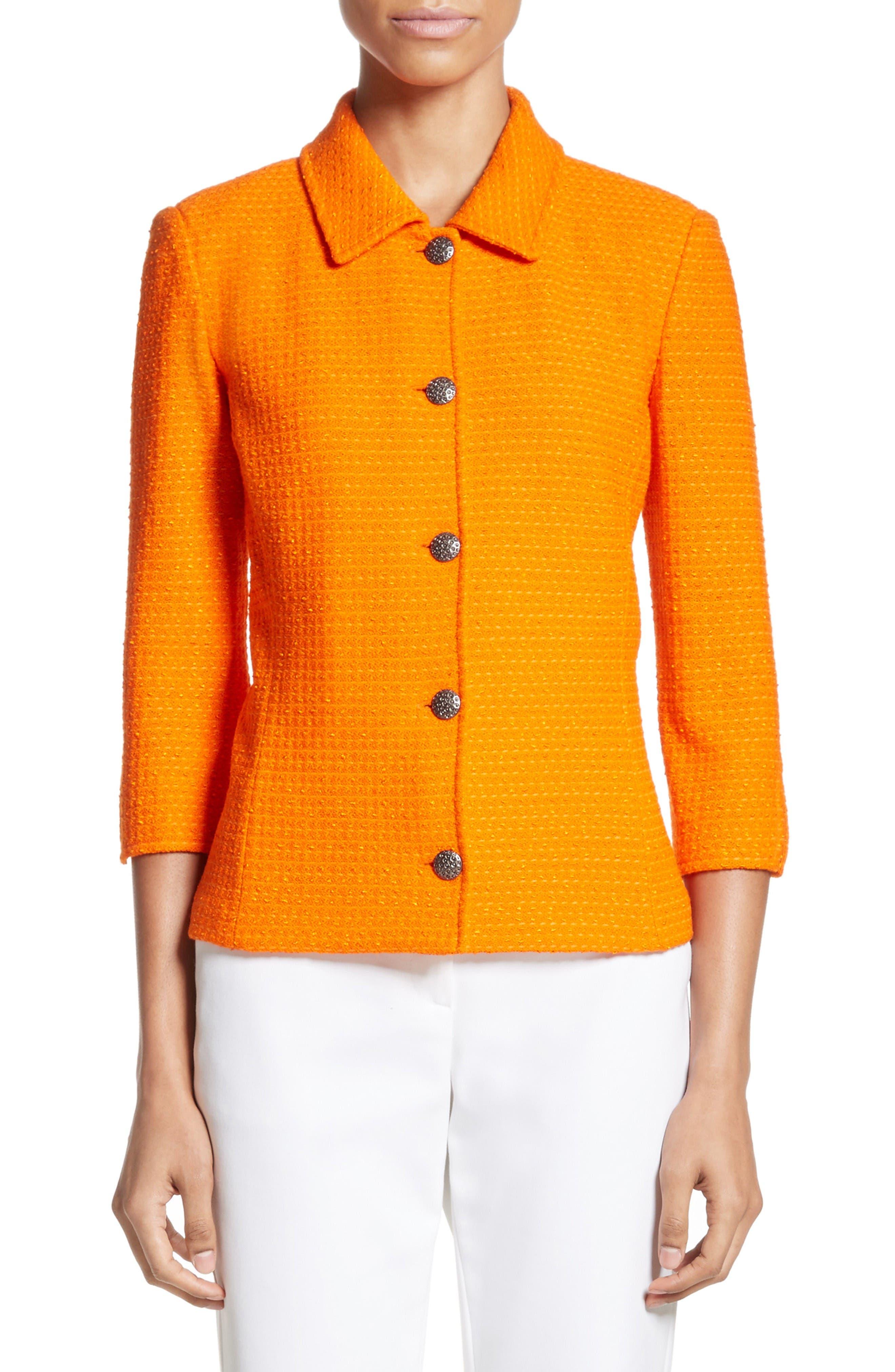 Main Image - St. John Collection Ribbon Texture Knit Jacket