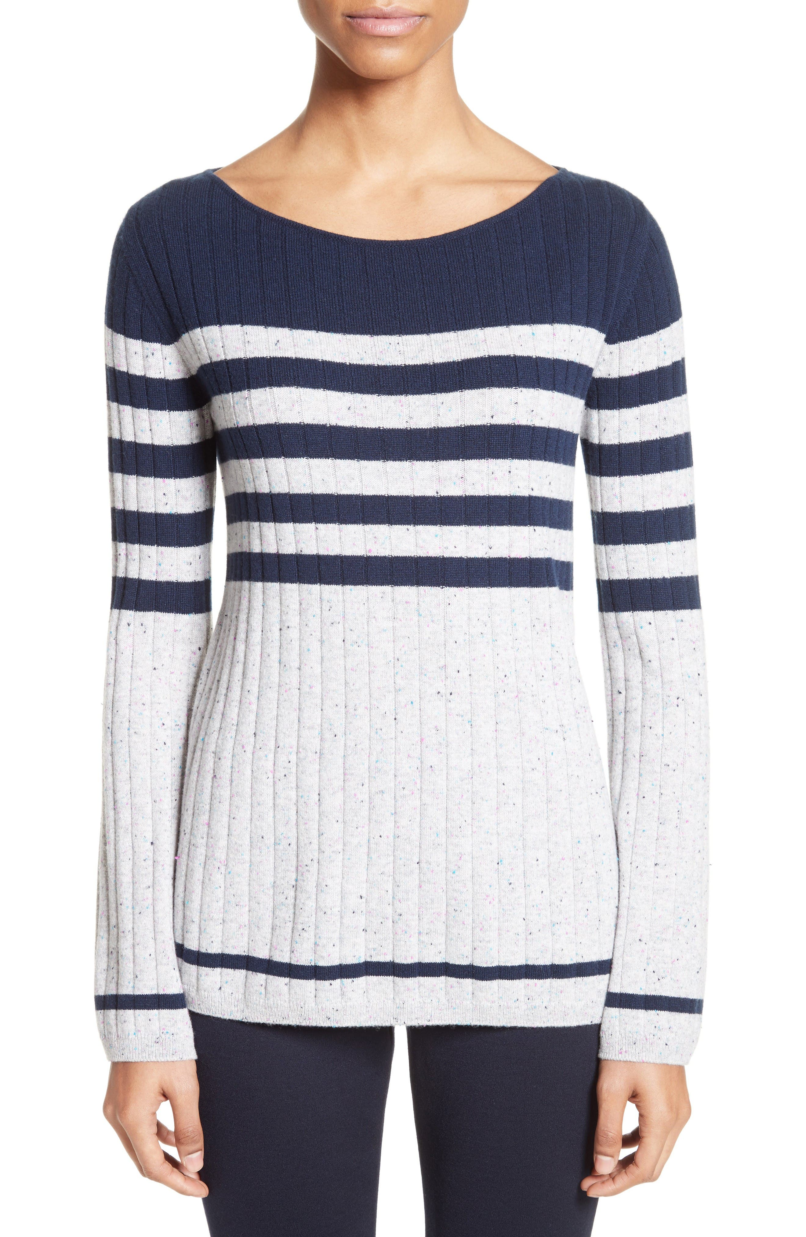 Side Button Stripe Cashmere Sweater,                             Main thumbnail 1, color,                             Navy/ Mica