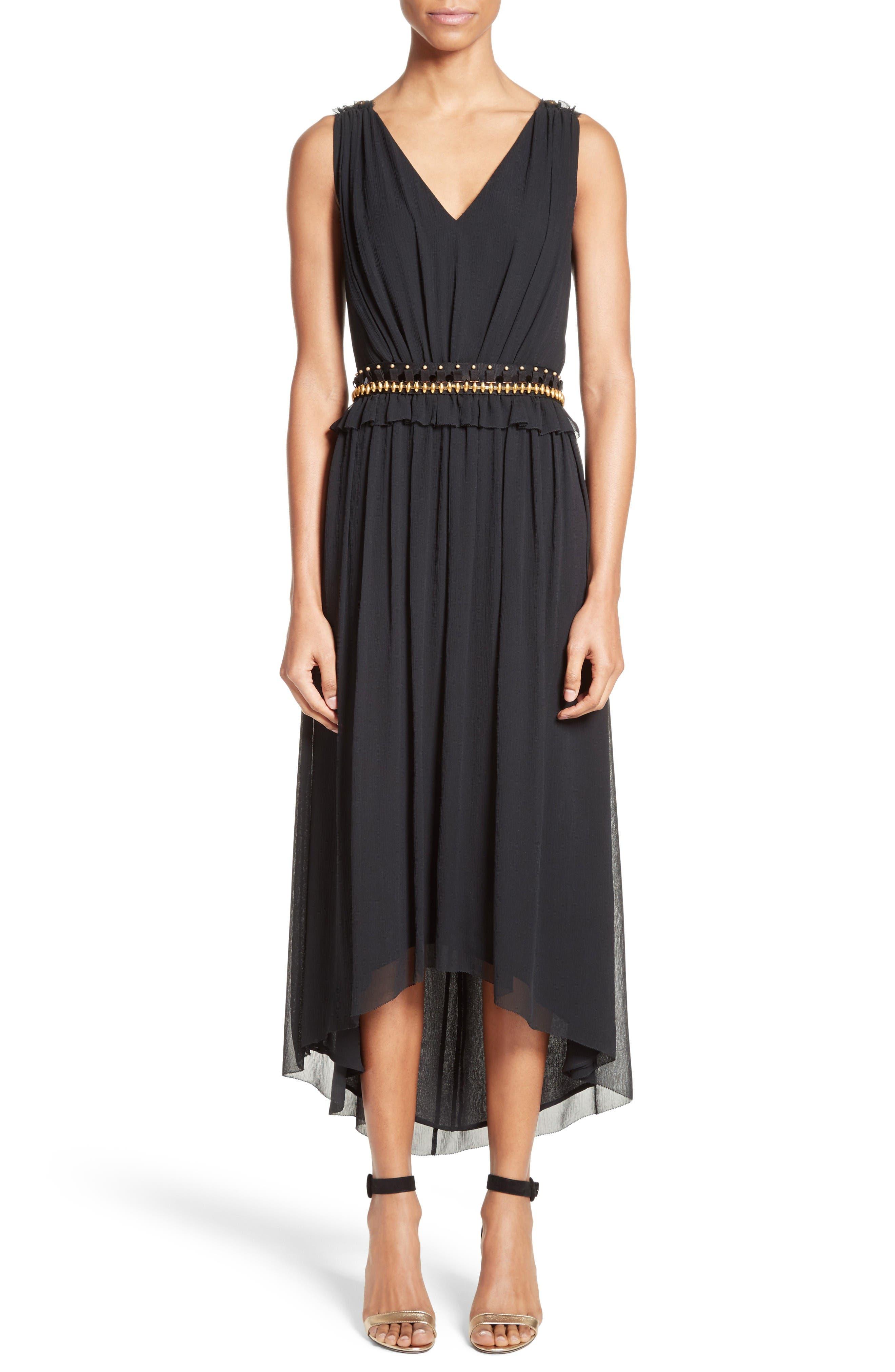 Main Image - St. John Collection Crinkled Silk Georgette Dress