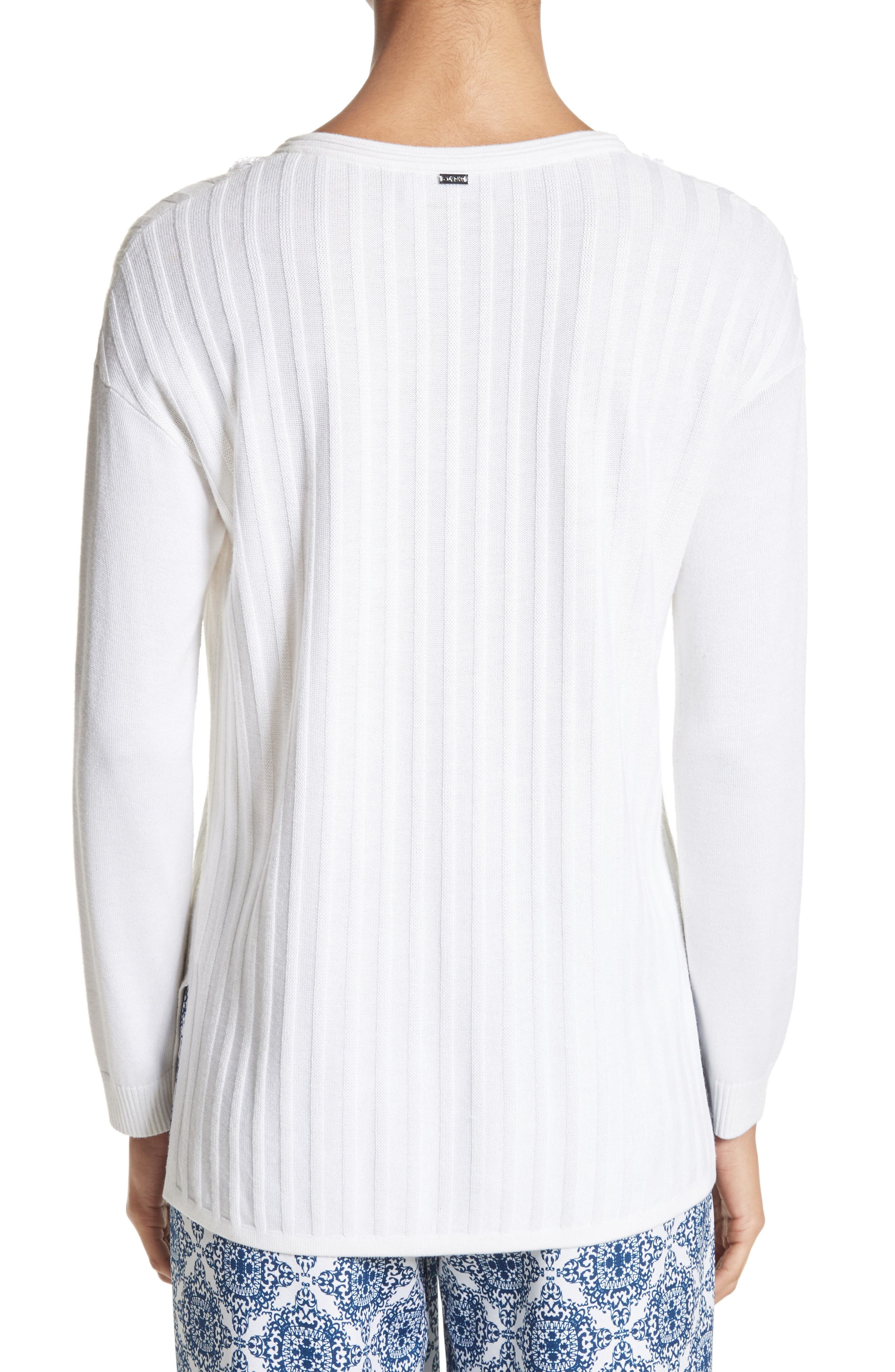 Fil Coupé Lace-Up Tunic,                             Alternate thumbnail 2, color,                             Bianco