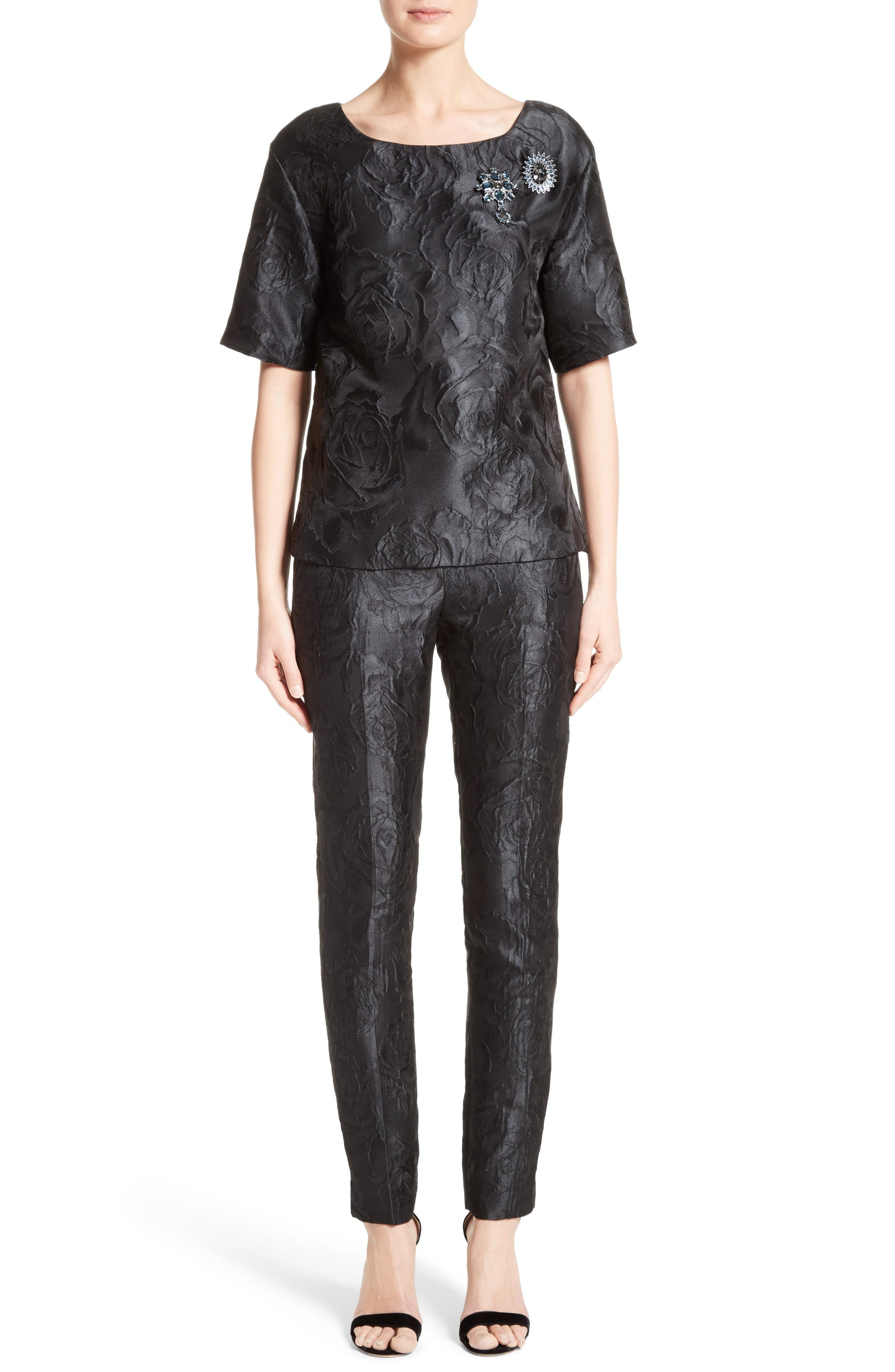 Alternate Image 8  - St. John Collection Emma Avani Rose Jacquard Pants