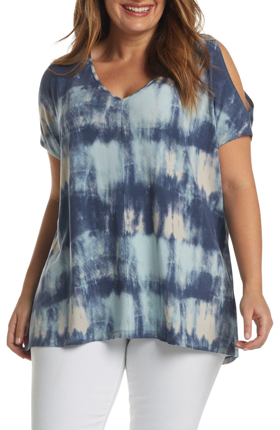 Rocky Cold Shoulder Top,                             Main thumbnail 1, color,                             Abstract Watercolor