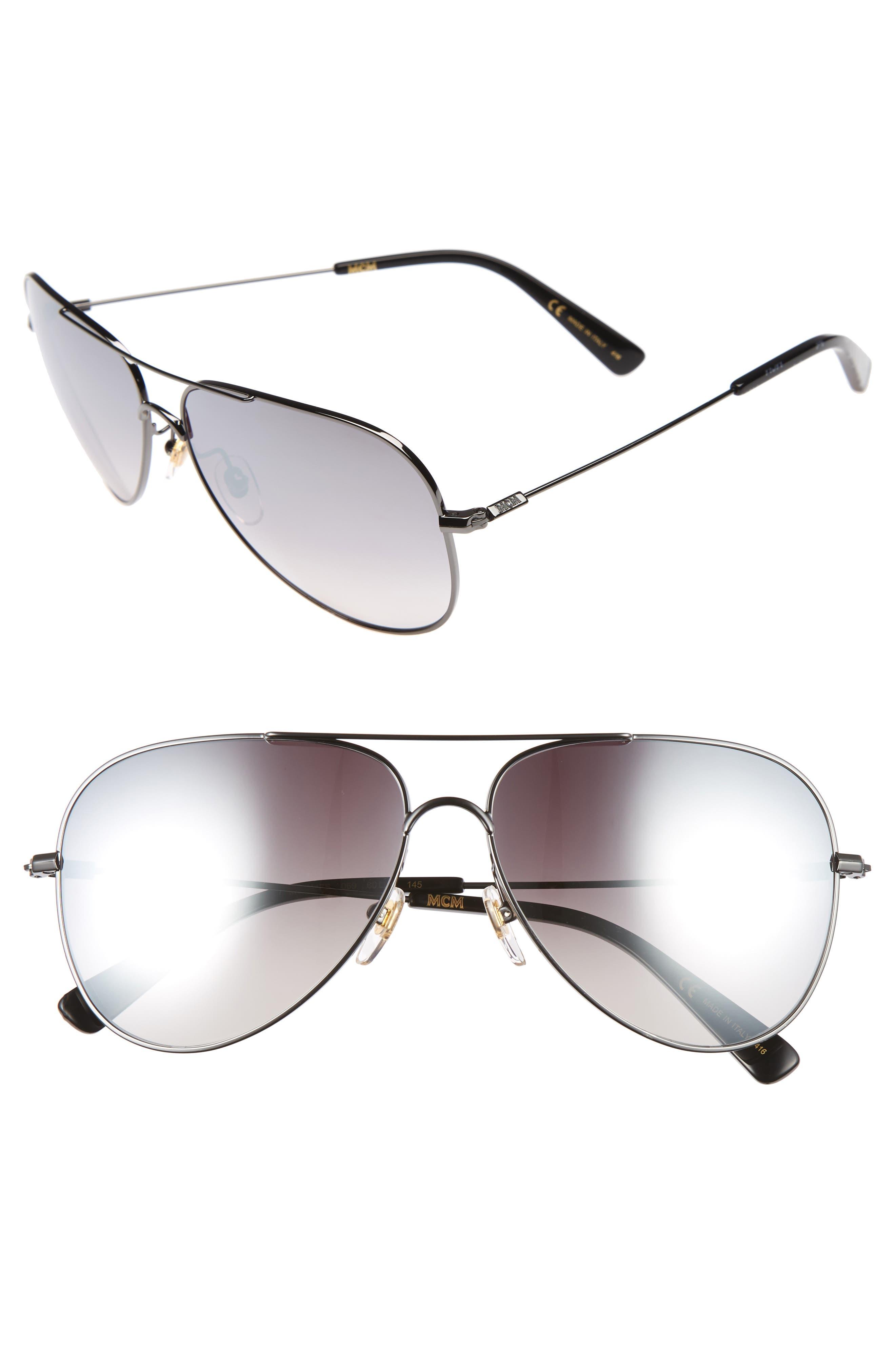 60mm Aviator Sunglasses,                         Main,                         color, Dark Ruthenium