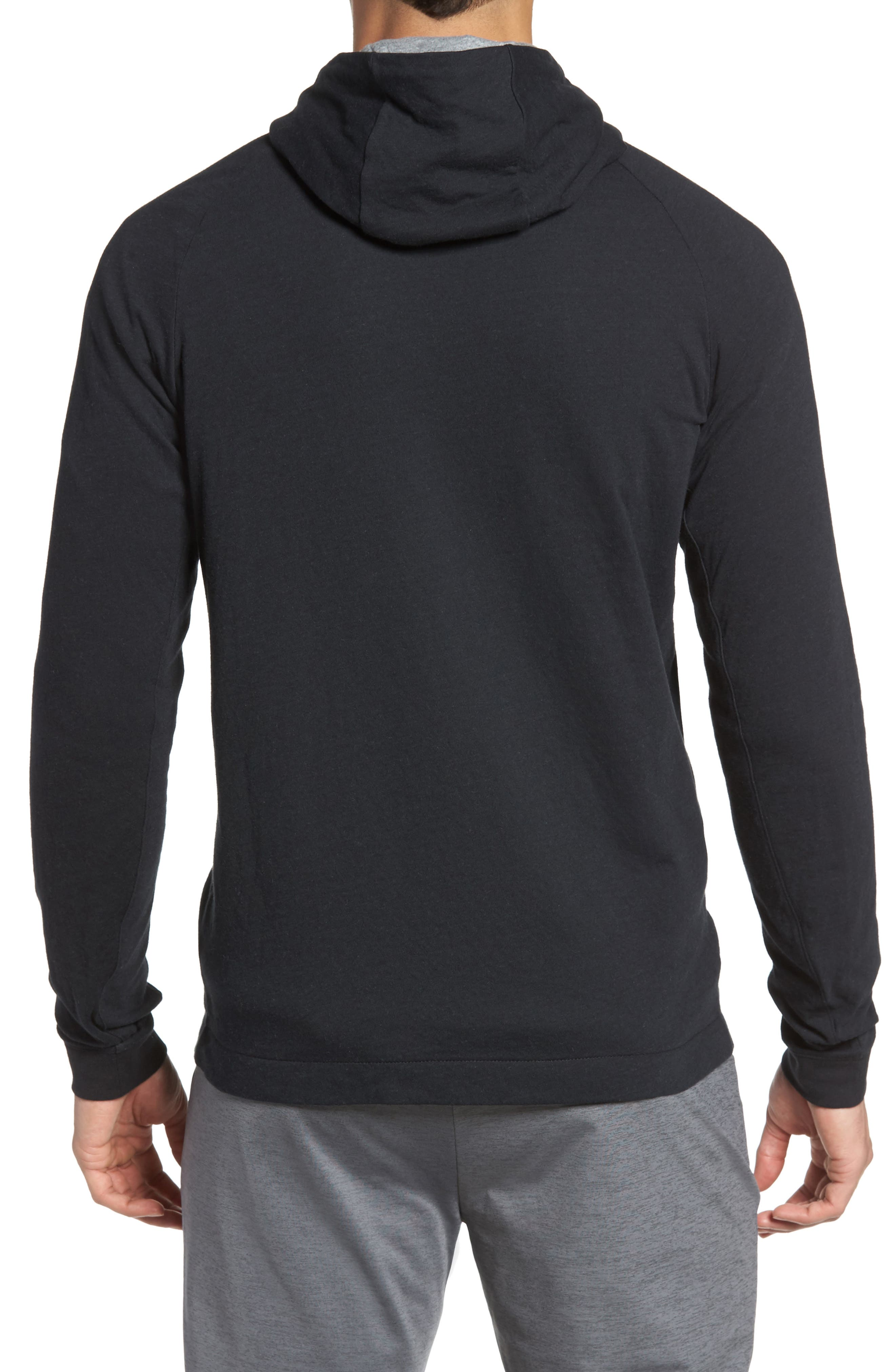 Tech Regular Fit Fleece Hoodie,                             Alternate thumbnail 2, color,                             Black/ Carbon Heather