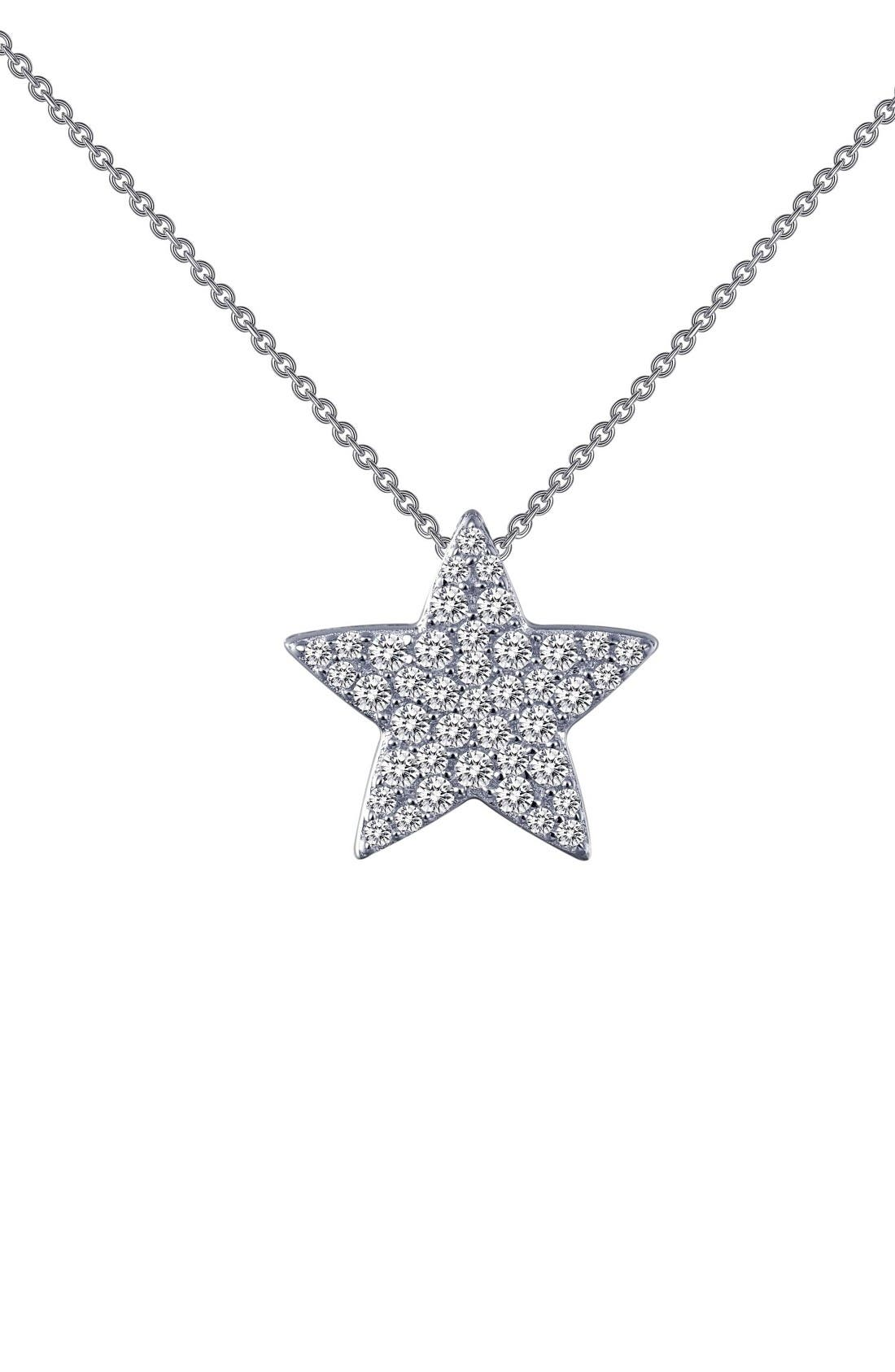 Simulated Diamond Star Pendant Necklace,                         Main,                         color, Silver