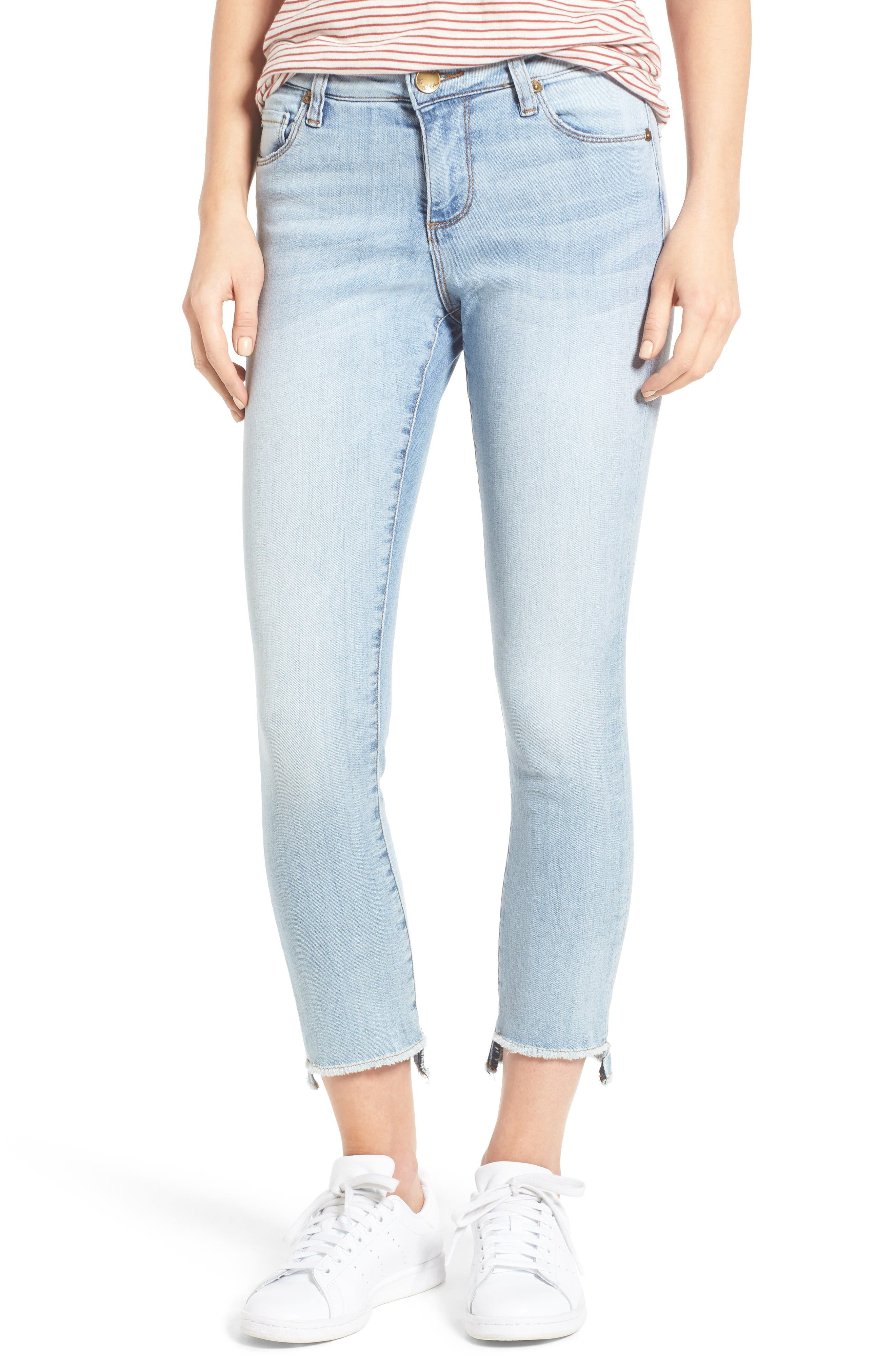Alternate Image 1 Selected - KUT from the Kloth Reese Uneven Hem Straight Ankle Jeans (Celebratory)
