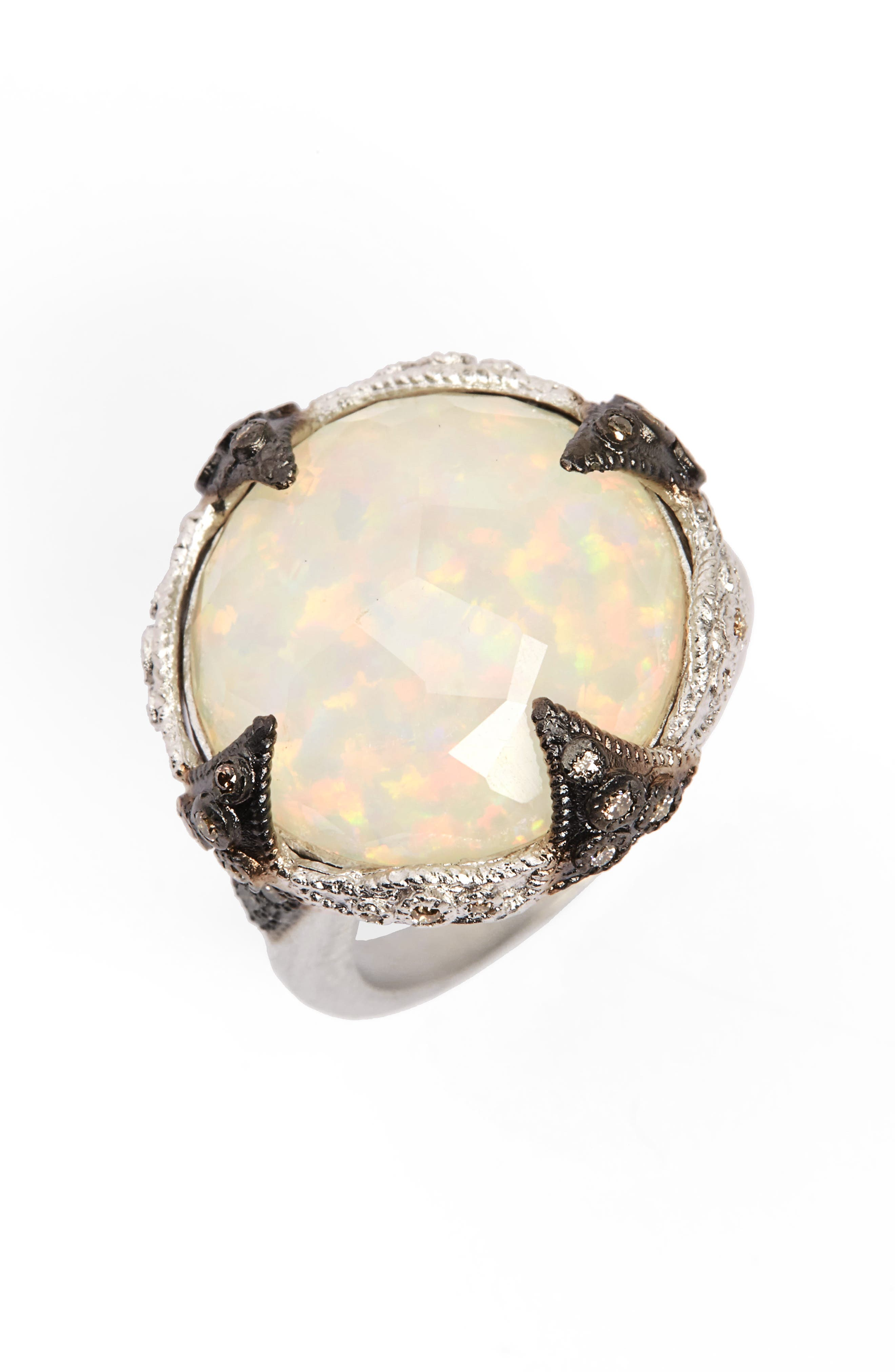 New World Opal & Diamond Ring,                         Main,                         color, Silver