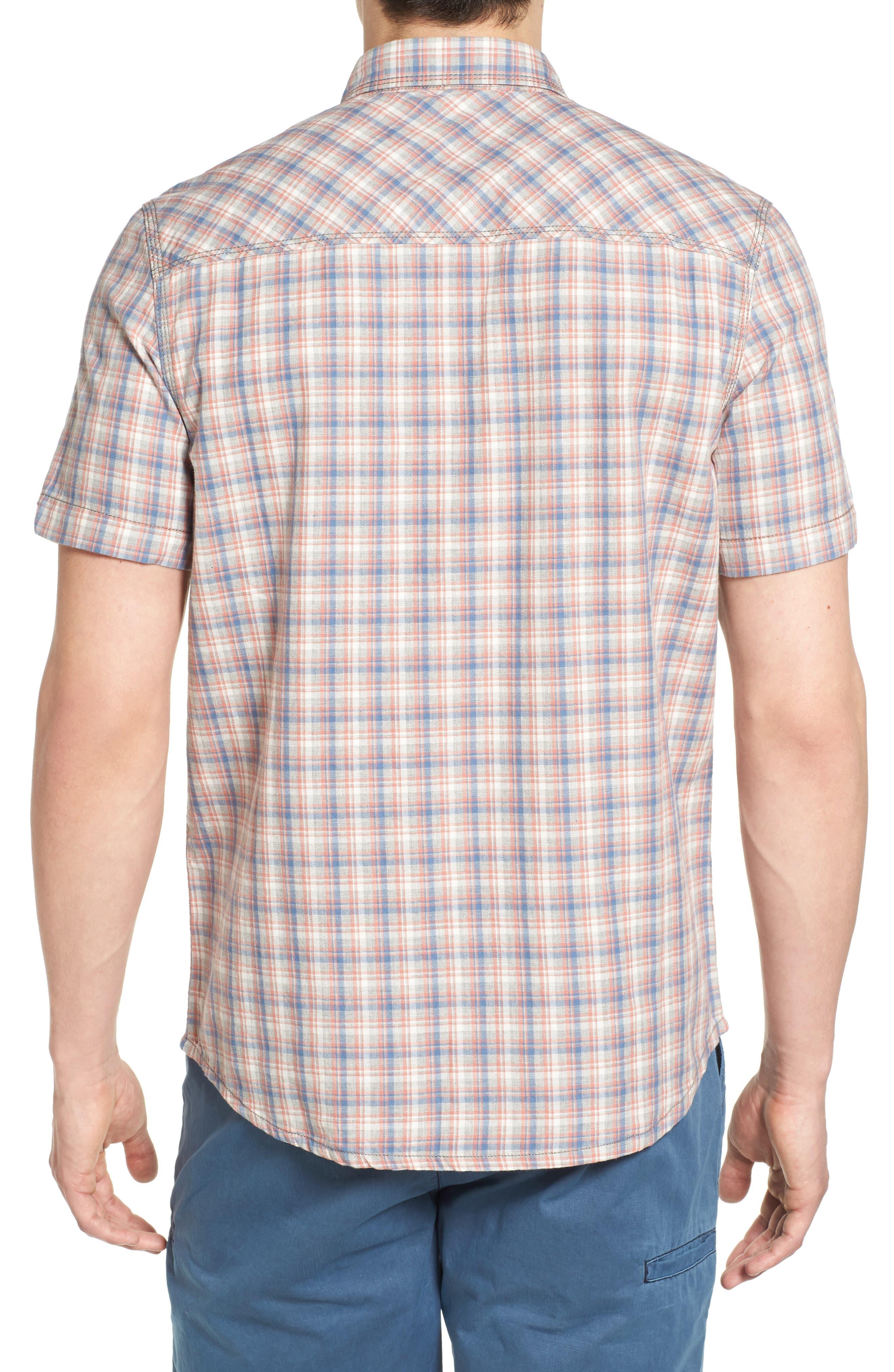 Solana Regular Fit Herringbone Plaid Sport Shirt,                             Alternate thumbnail 2, color,                             Elephant Heather