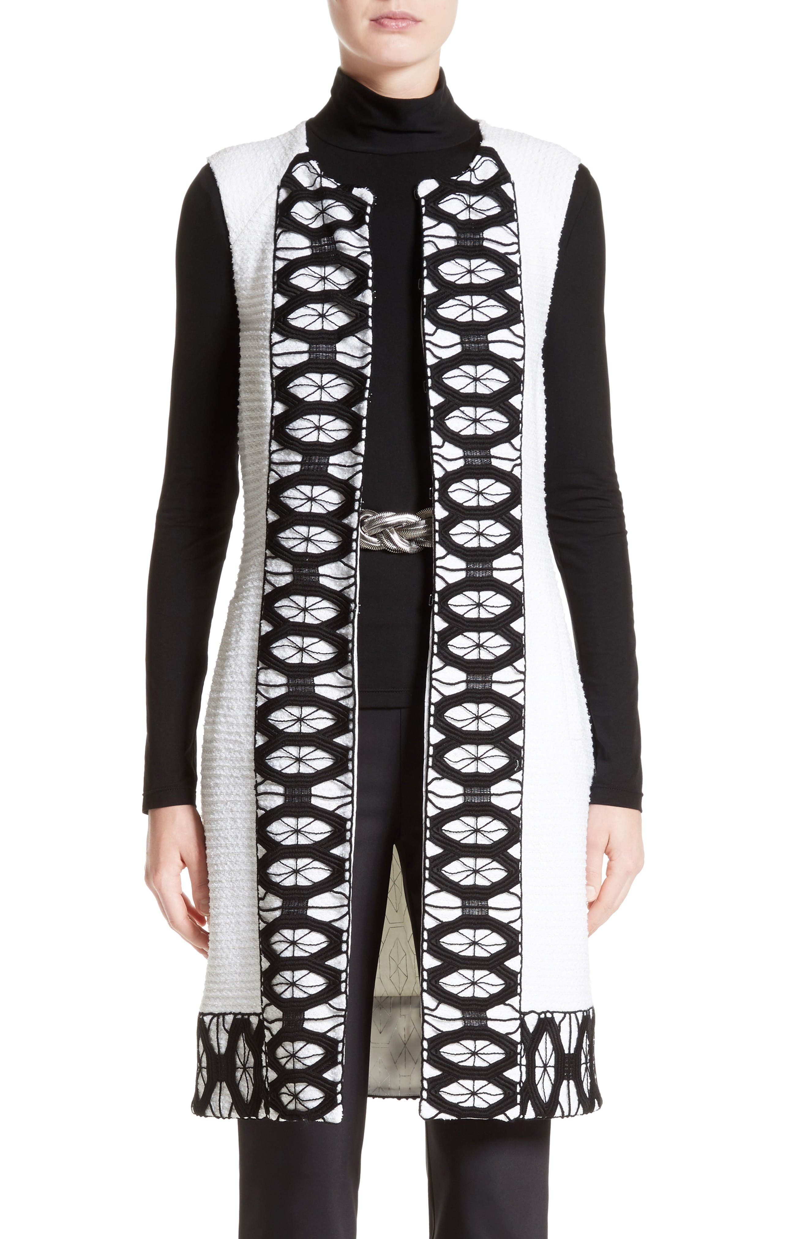 Sara Lace Trim Long Vest,                         Main,                         color, Bianco/ Caviar