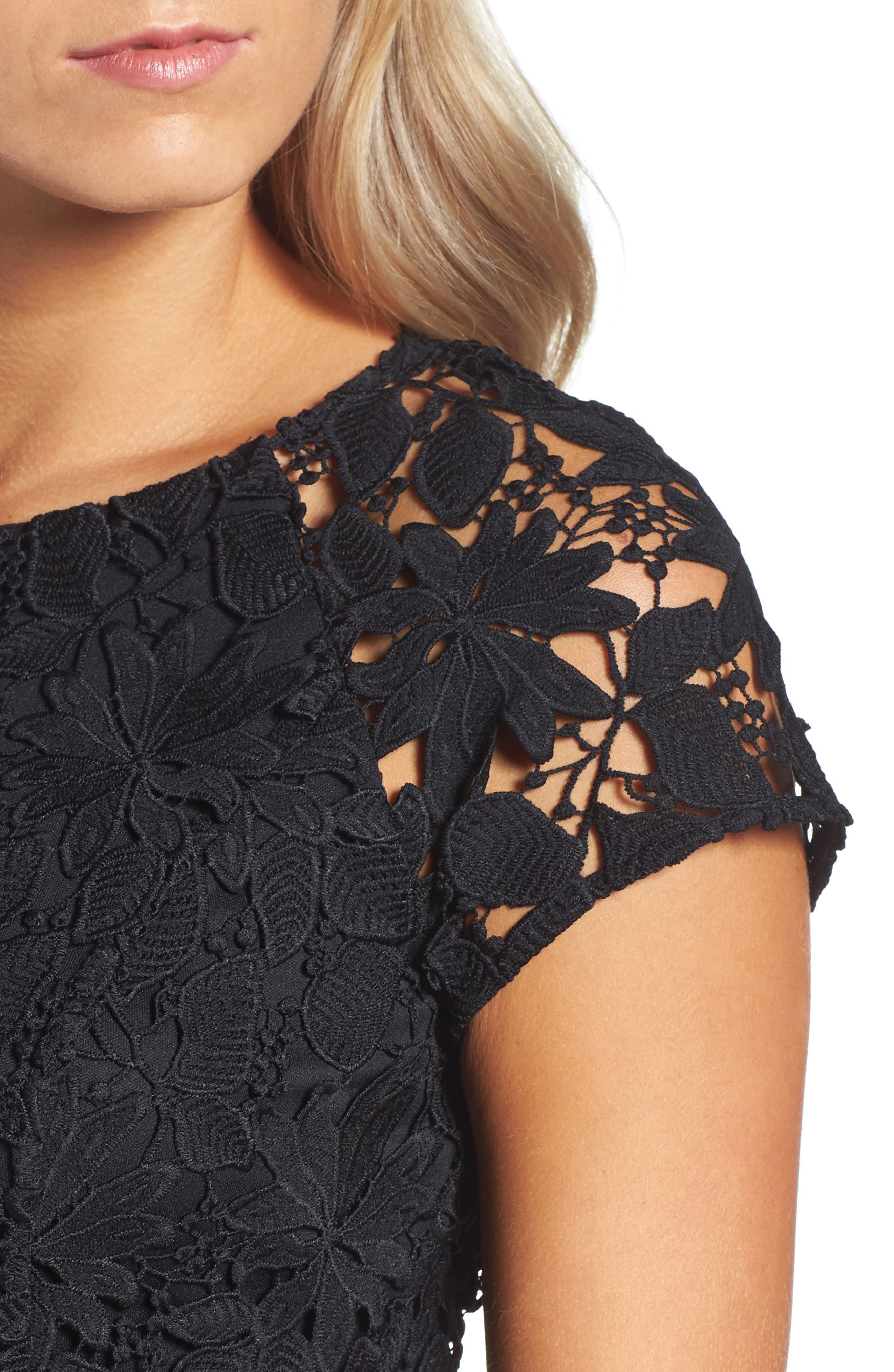 Lace Dress,                             Alternate thumbnail 5, color,                             Black